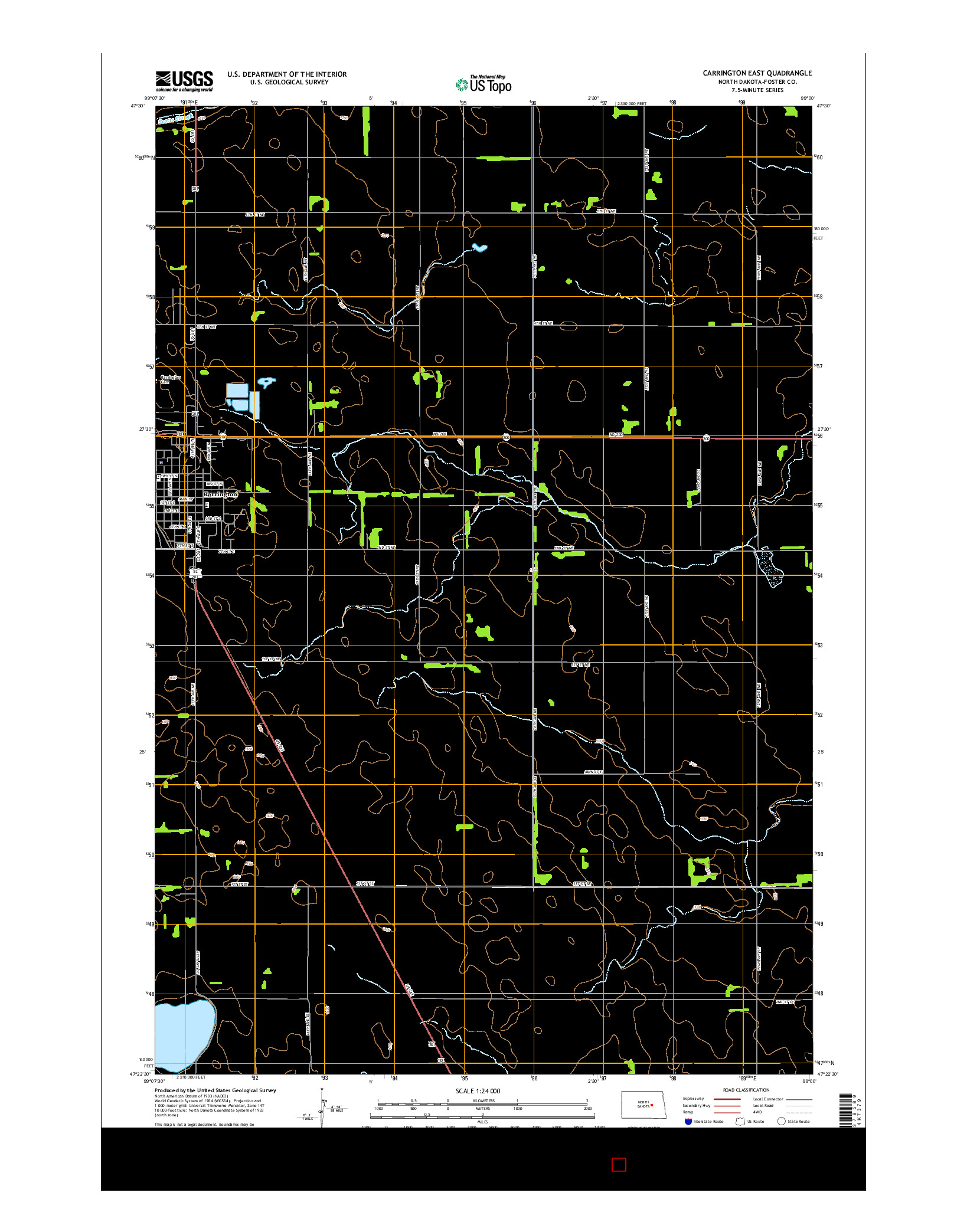 USGS US TOPO 7.5-MINUTE MAP FOR CARRINGTON EAST, ND 2014