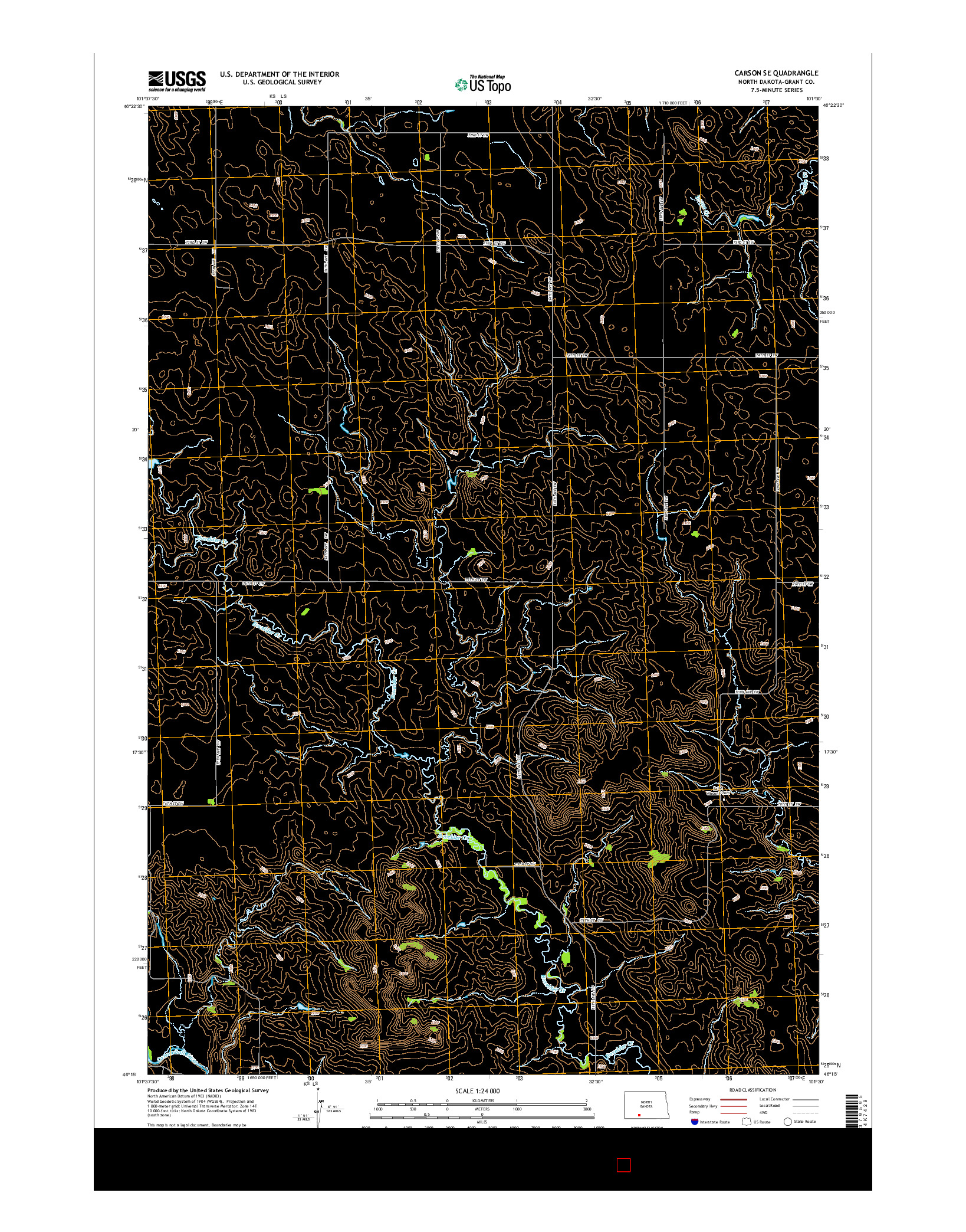 USGS US TOPO 7.5-MINUTE MAP FOR CARSON SE, ND 2014