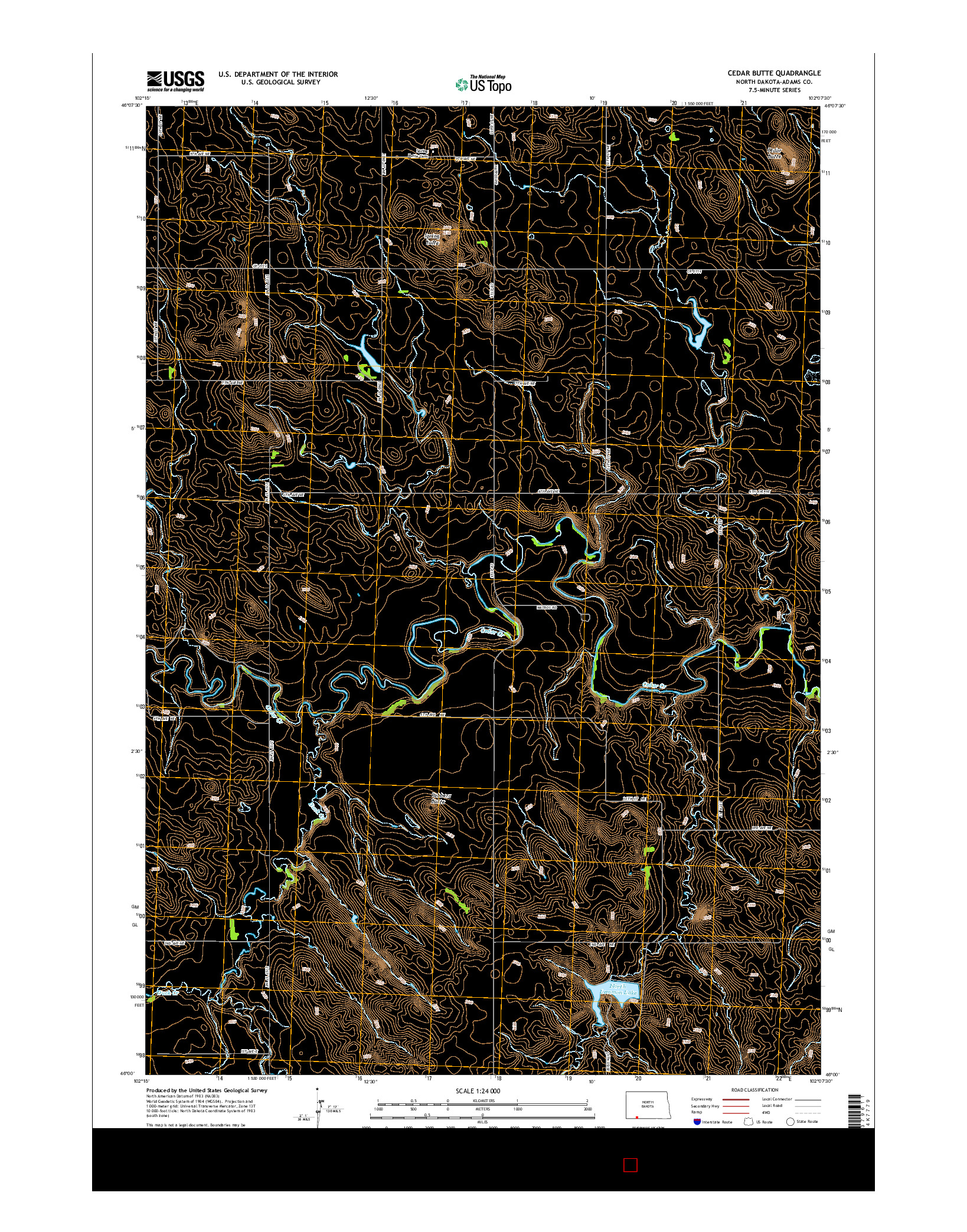 USGS US TOPO 7.5-MINUTE MAP FOR CEDAR BUTTE, ND 2014