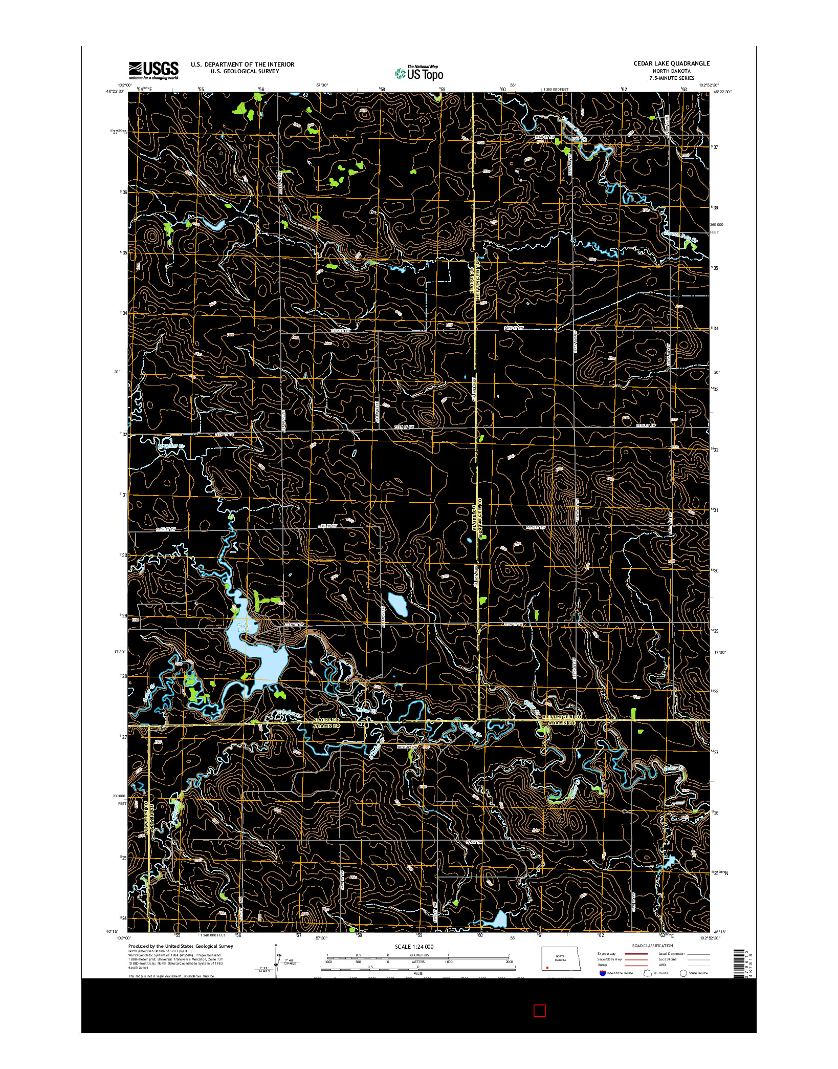 USGS US TOPO 7.5-MINUTE MAP FOR CEDAR LAKE, ND 2014