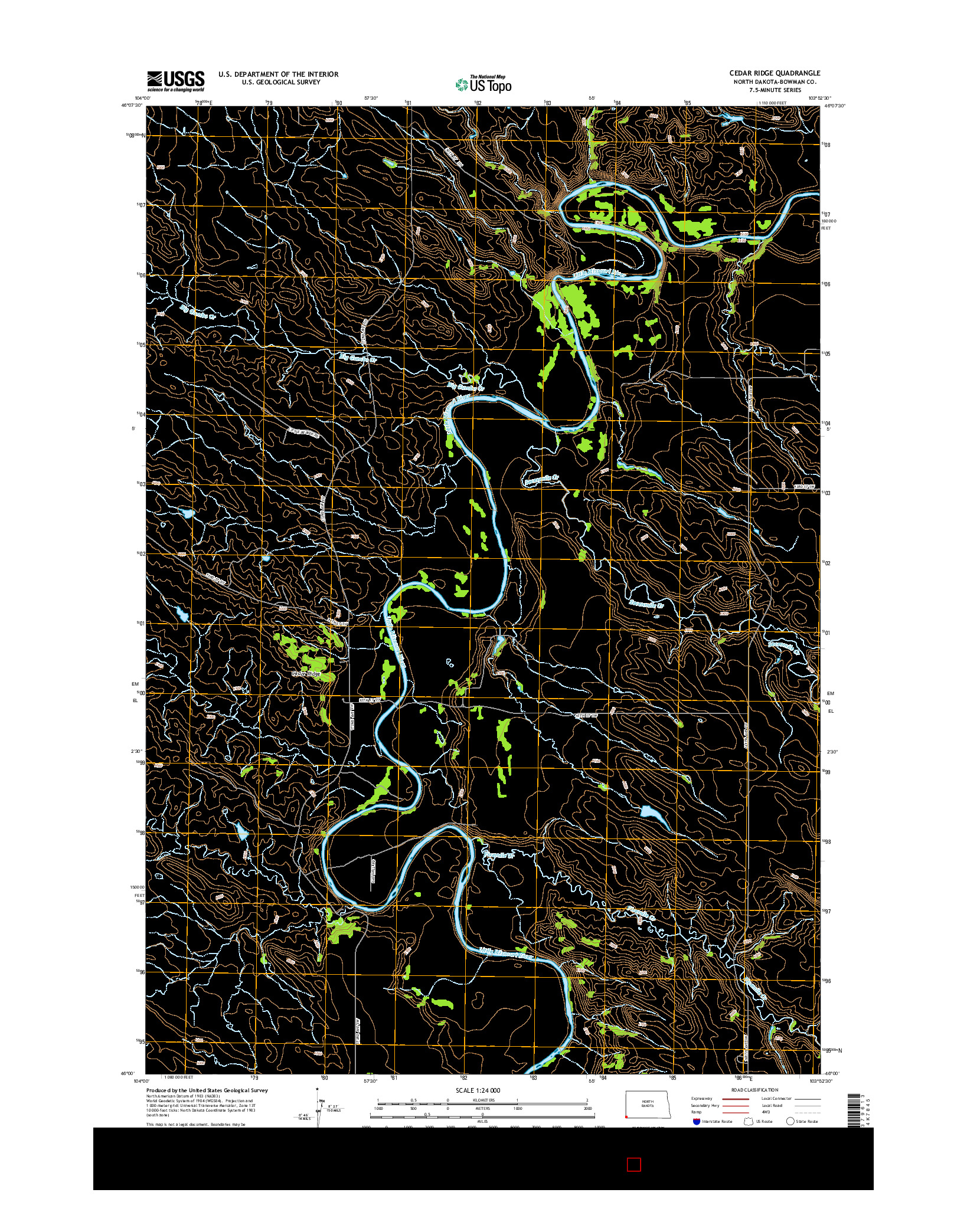 USGS US TOPO 7.5-MINUTE MAP FOR CEDAR RIDGE, ND 2014