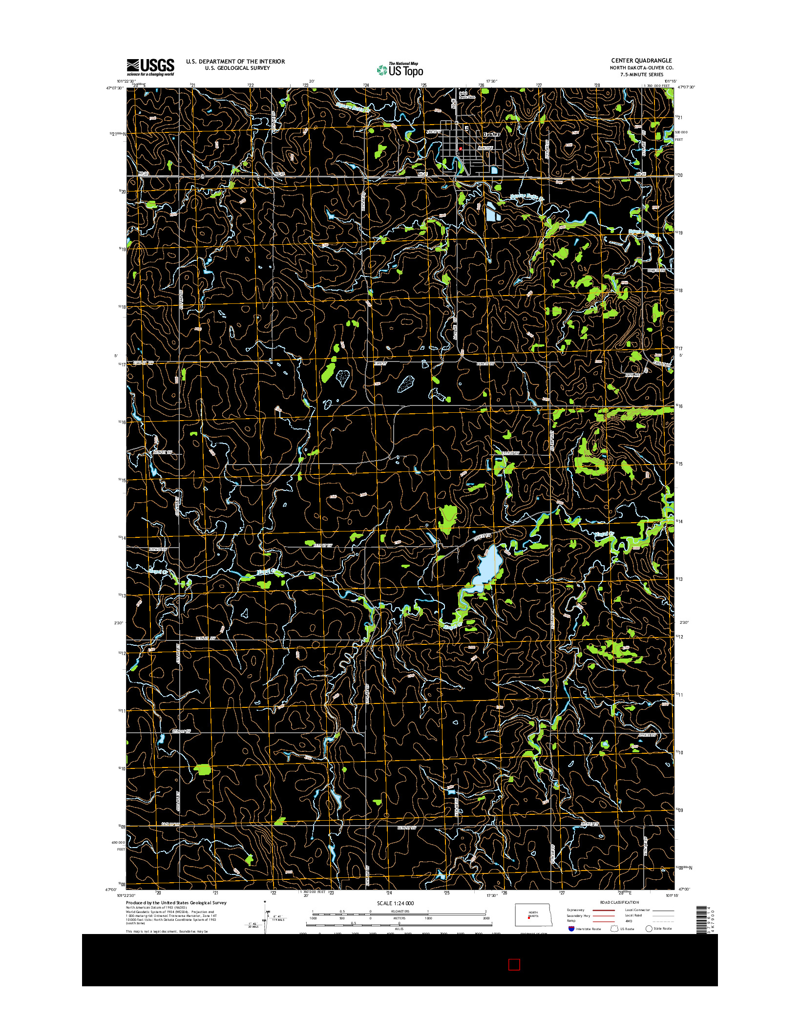 USGS US TOPO 7.5-MINUTE MAP FOR CENTER, ND 2014