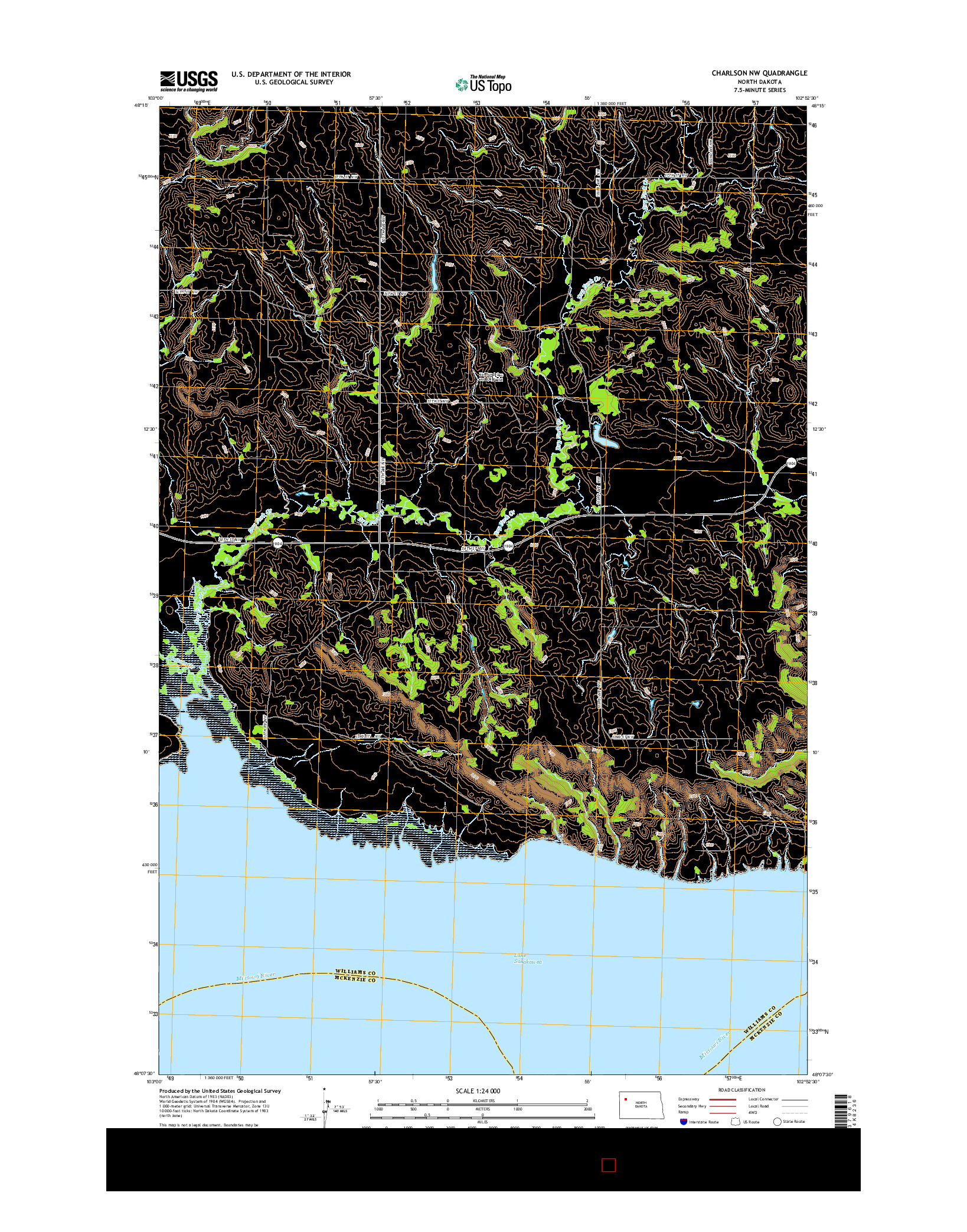 USGS US TOPO 7.5-MINUTE MAP FOR CHARLSON NW, ND 2014