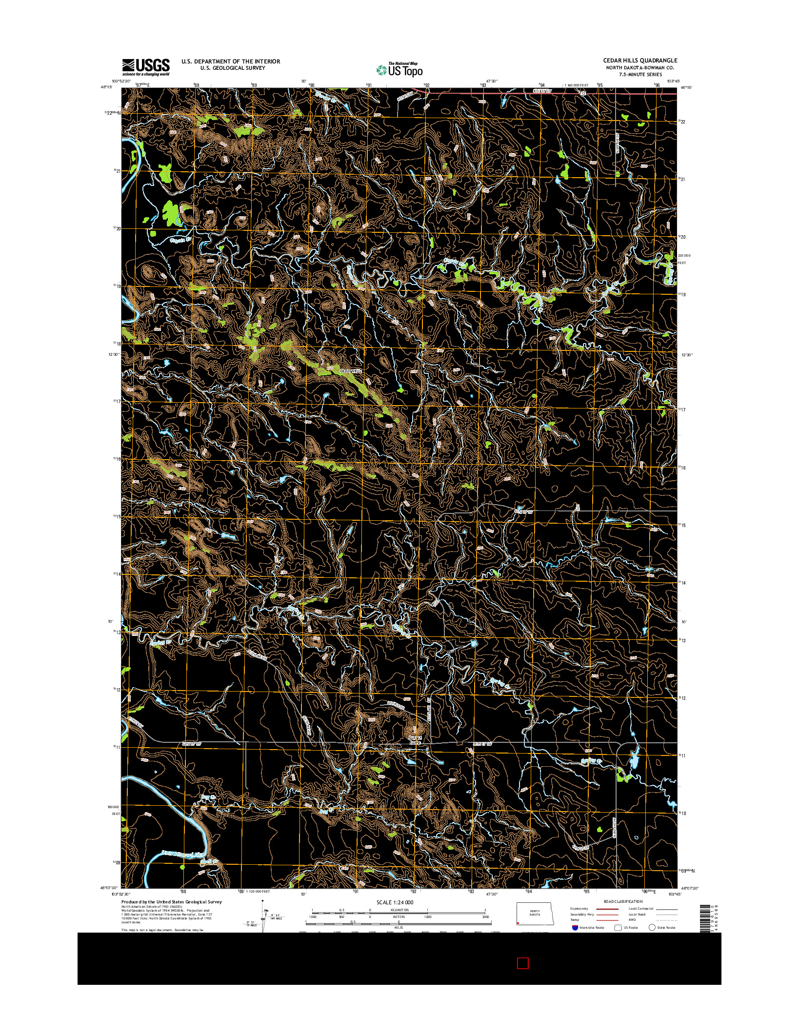 USGS US TOPO 7.5-MINUTE MAP FOR CEDAR HILLS, ND 2014