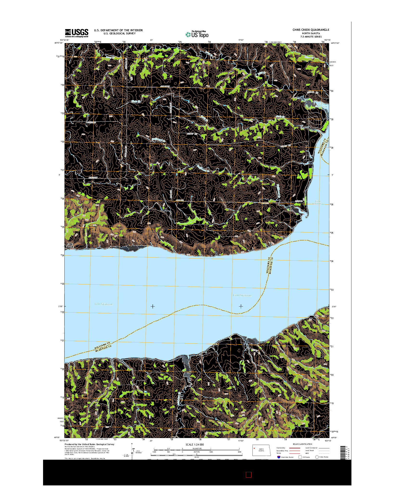 USGS US TOPO 7.5-MINUTE MAP FOR CHRIS CREEK, ND 2014