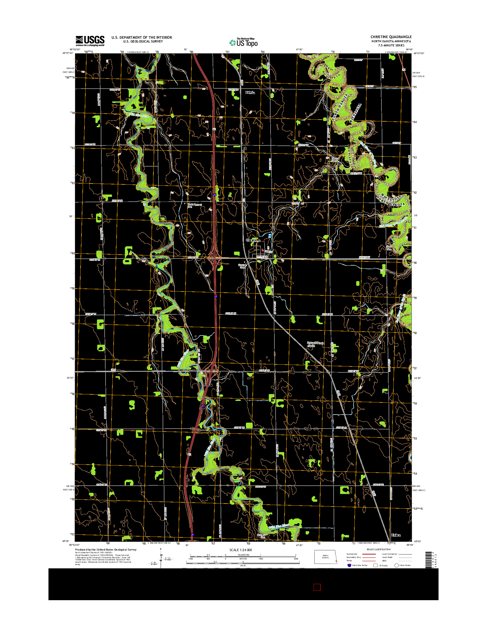 USGS US TOPO 7.5-MINUTE MAP FOR CHRISTINE, ND-MN 2014