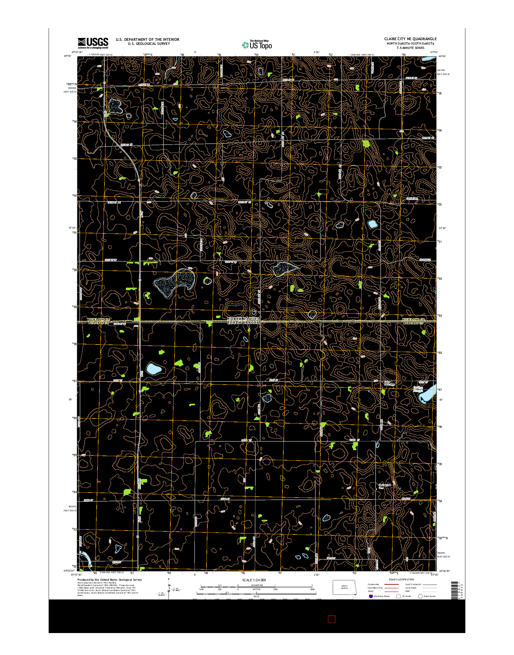 USGS US TOPO 7.5-MINUTE MAP FOR CLAIRE CITY NE, ND-SD 2014