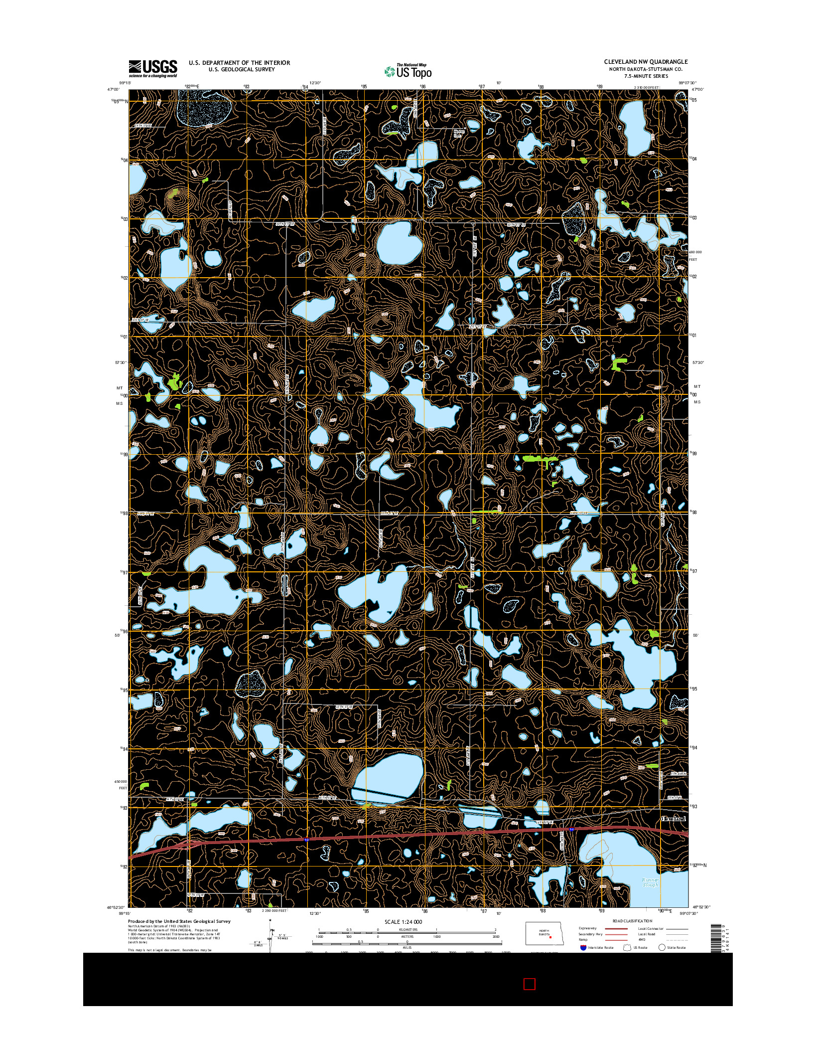 USGS US TOPO 7.5-MINUTE MAP FOR CLEVELAND NW, ND 2014