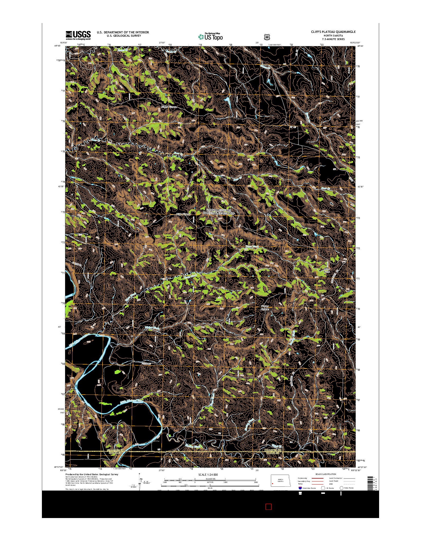 USGS US TOPO 7.5-MINUTE MAP FOR CLIFFS PLATEAU, ND 2014