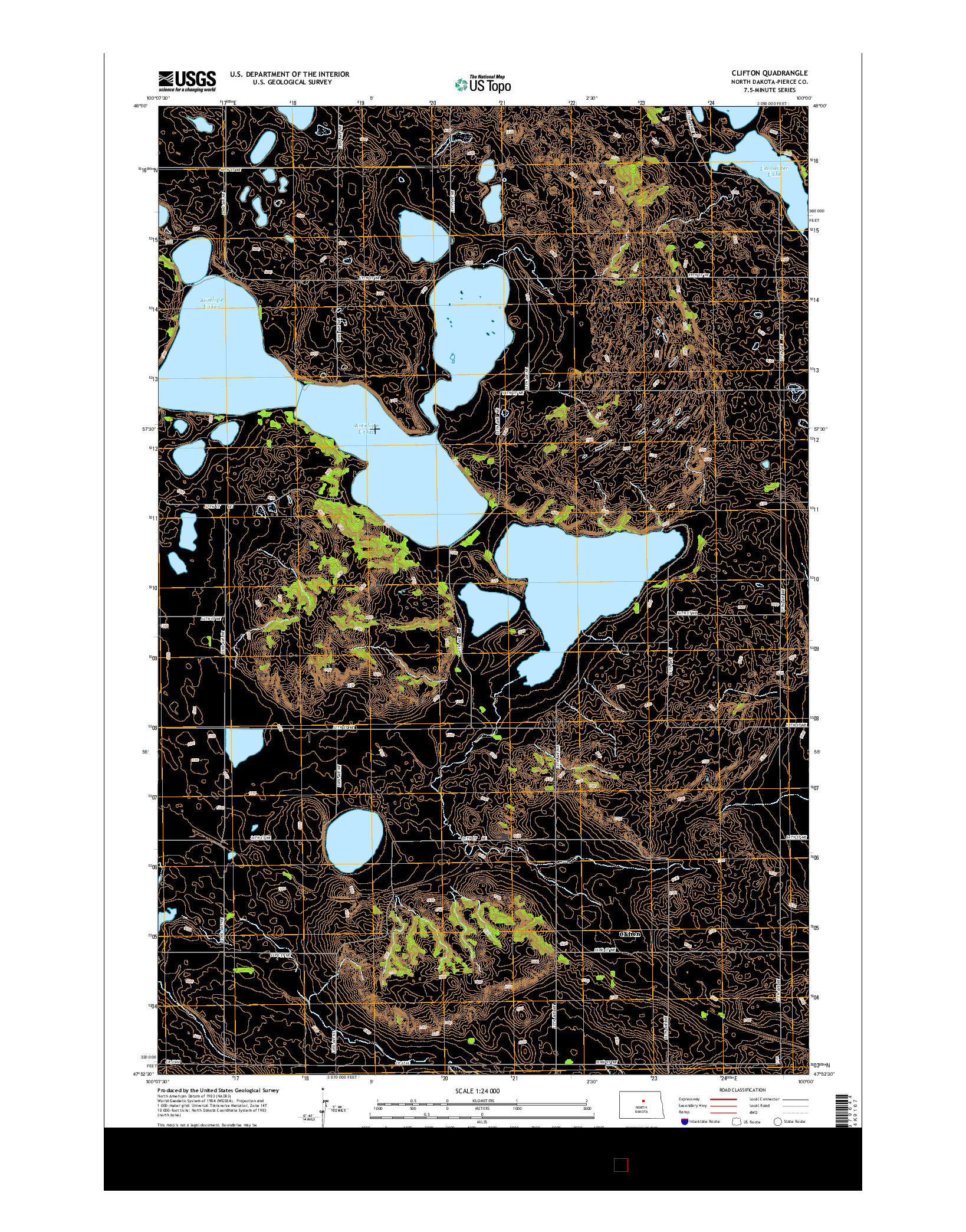 USGS US TOPO 7.5-MINUTE MAP FOR CLIFTON, ND 2014