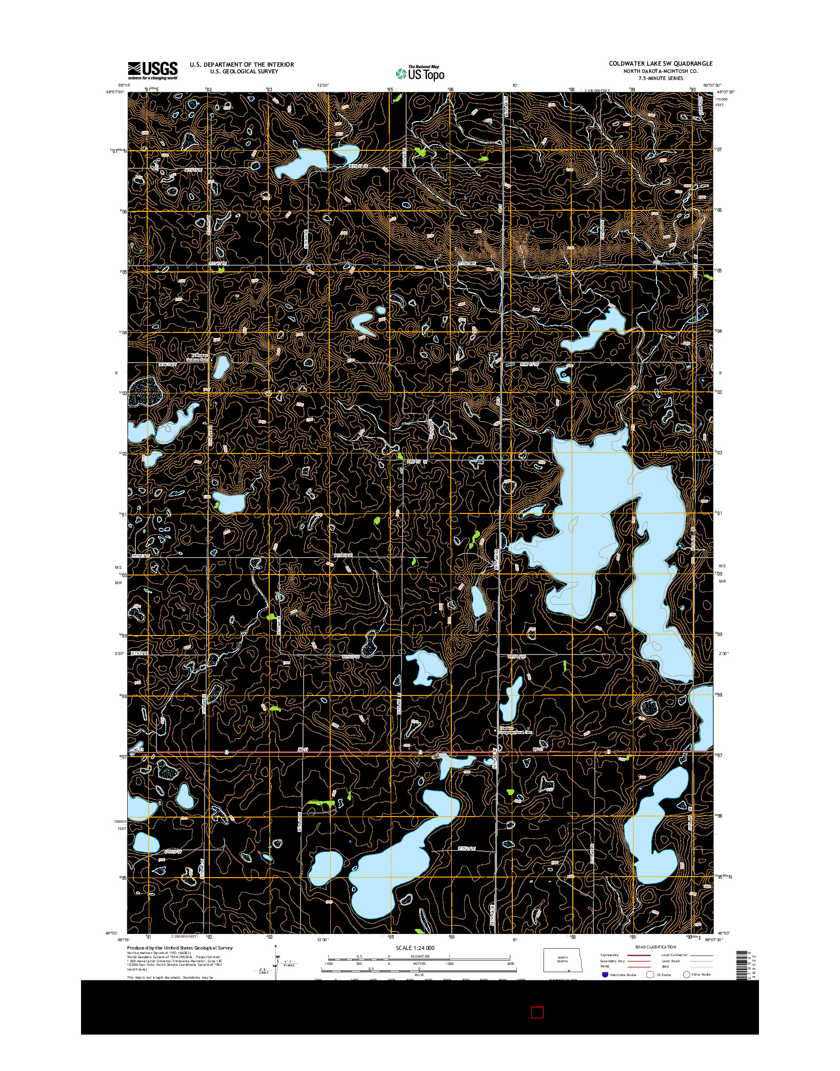 USGS US TOPO 7.5-MINUTE MAP FOR COLDWATER LAKE SW, ND 2014