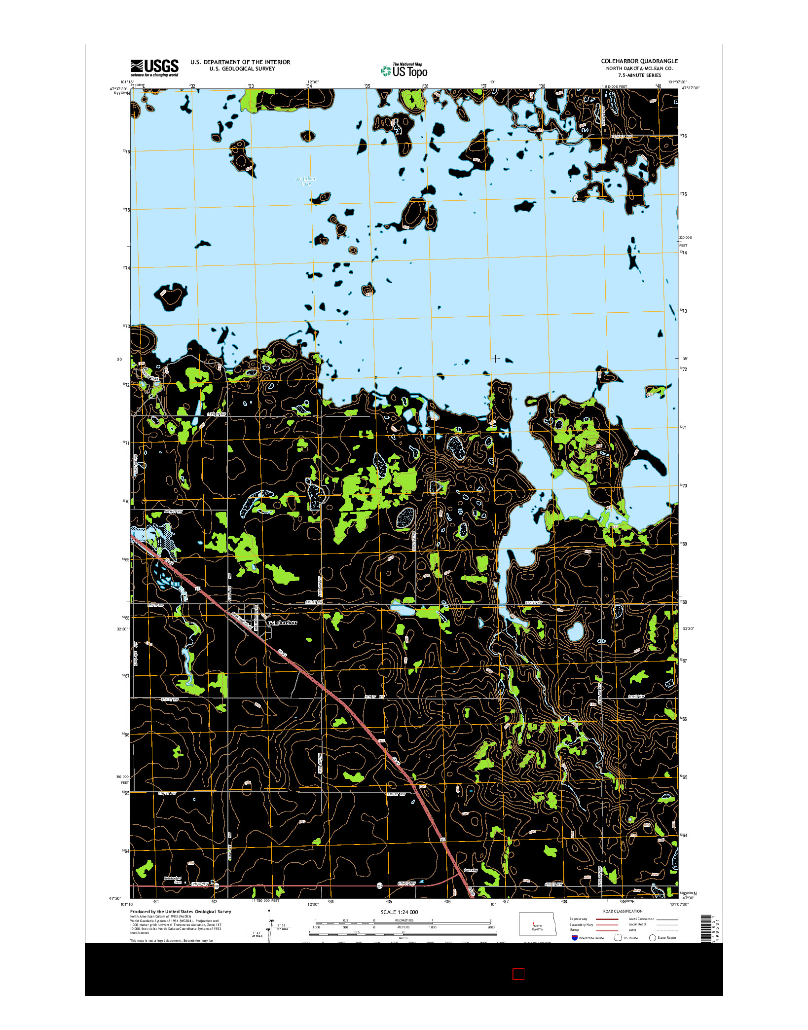 USGS US TOPO 7.5-MINUTE MAP FOR COLEHARBOR, ND 2014