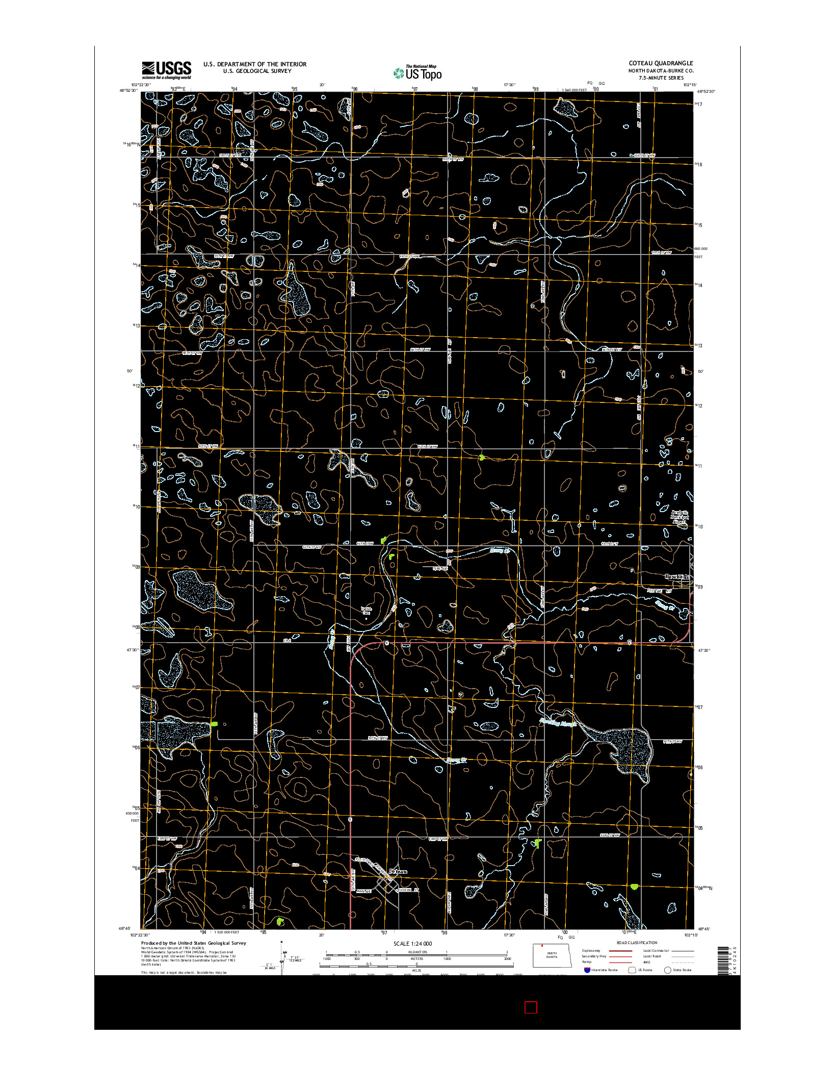 USGS US TOPO 7.5-MINUTE MAP FOR COTEAU, ND 2014
