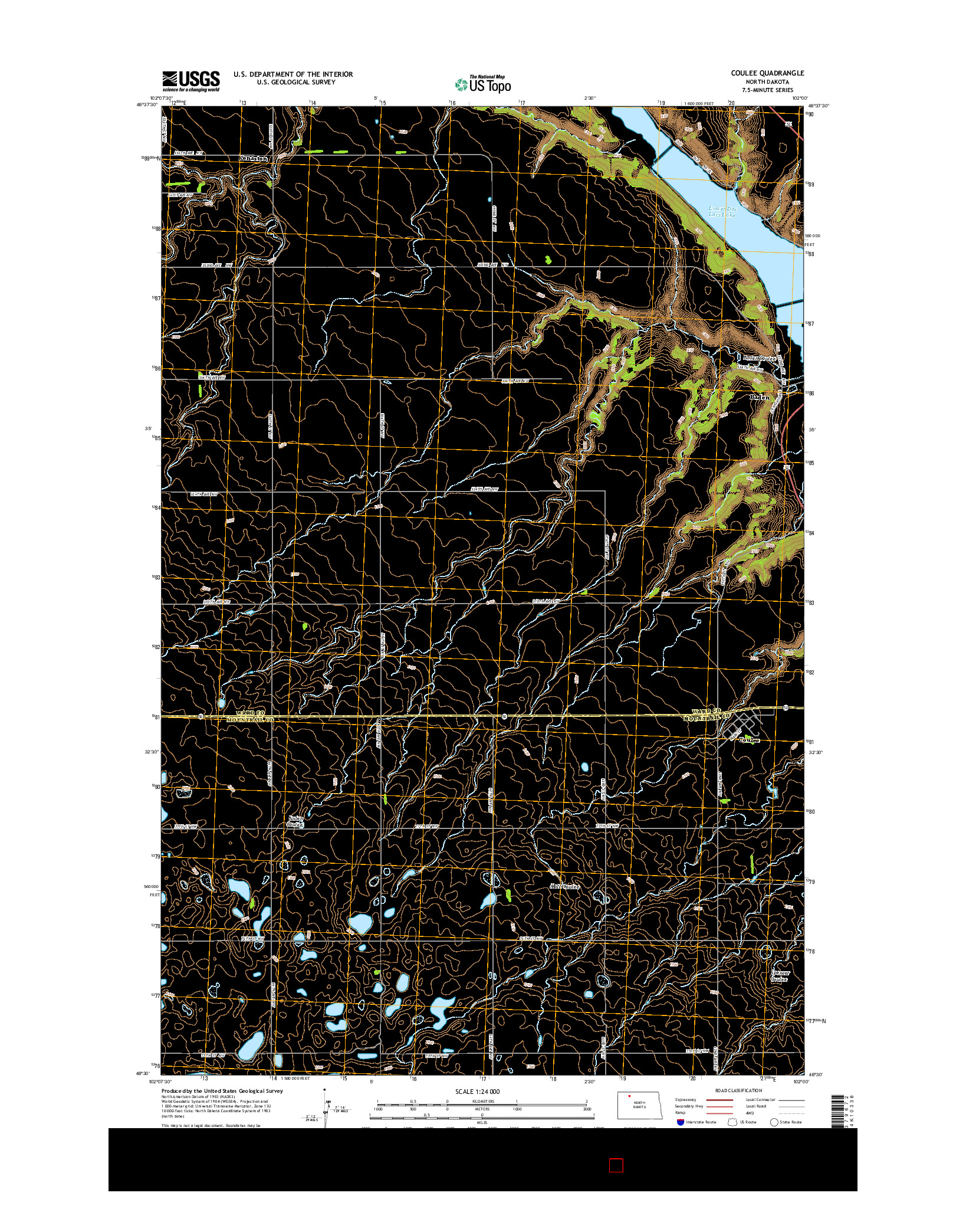 USGS US TOPO 7.5-MINUTE MAP FOR COULEE, ND 2014