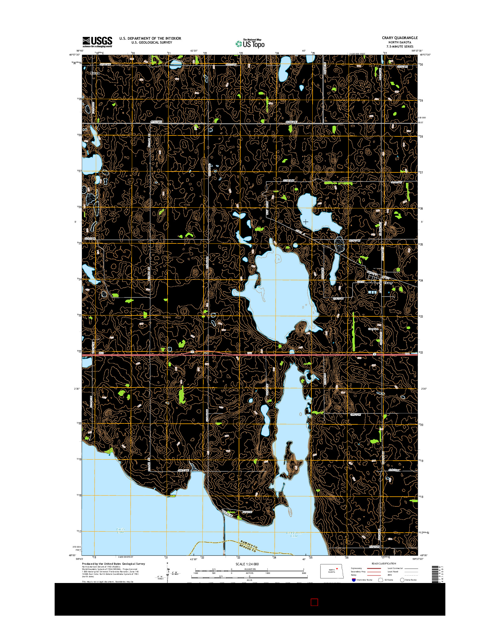 USGS US TOPO 7.5-MINUTE MAP FOR CRARY, ND 2014