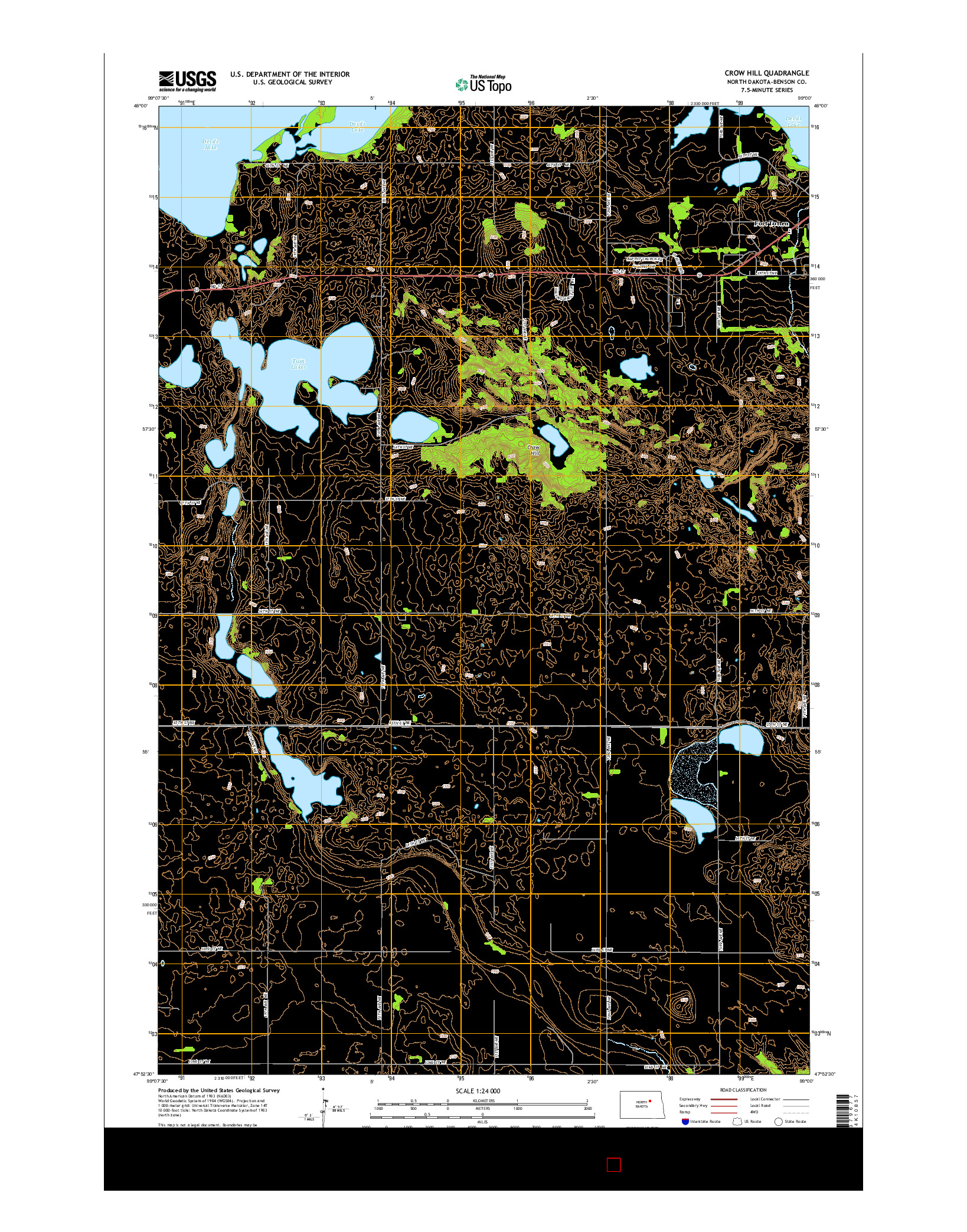 USGS US TOPO 7.5-MINUTE MAP FOR CROW HILL, ND 2014