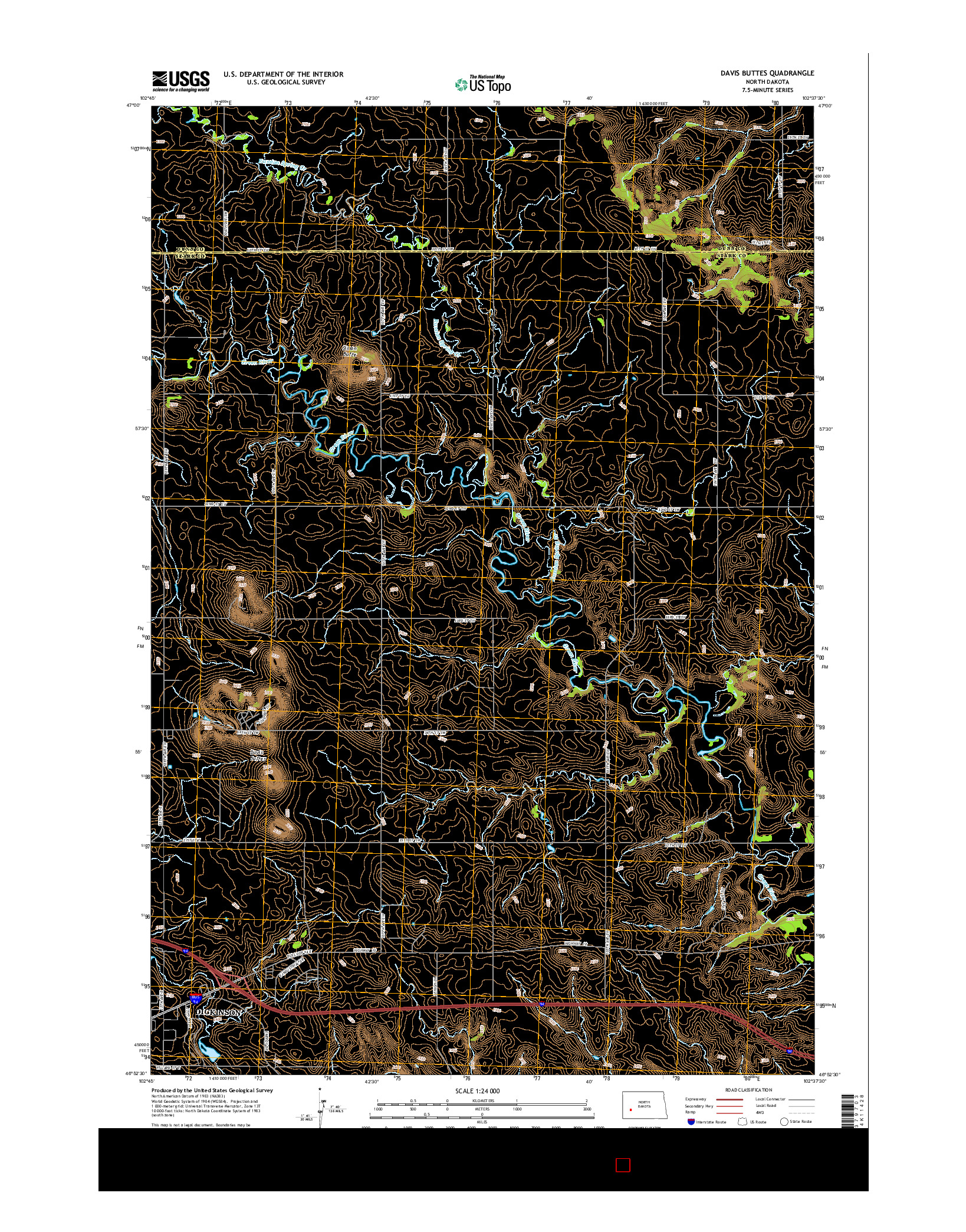USGS US TOPO 7.5-MINUTE MAP FOR DAVIS BUTTES, ND 2014