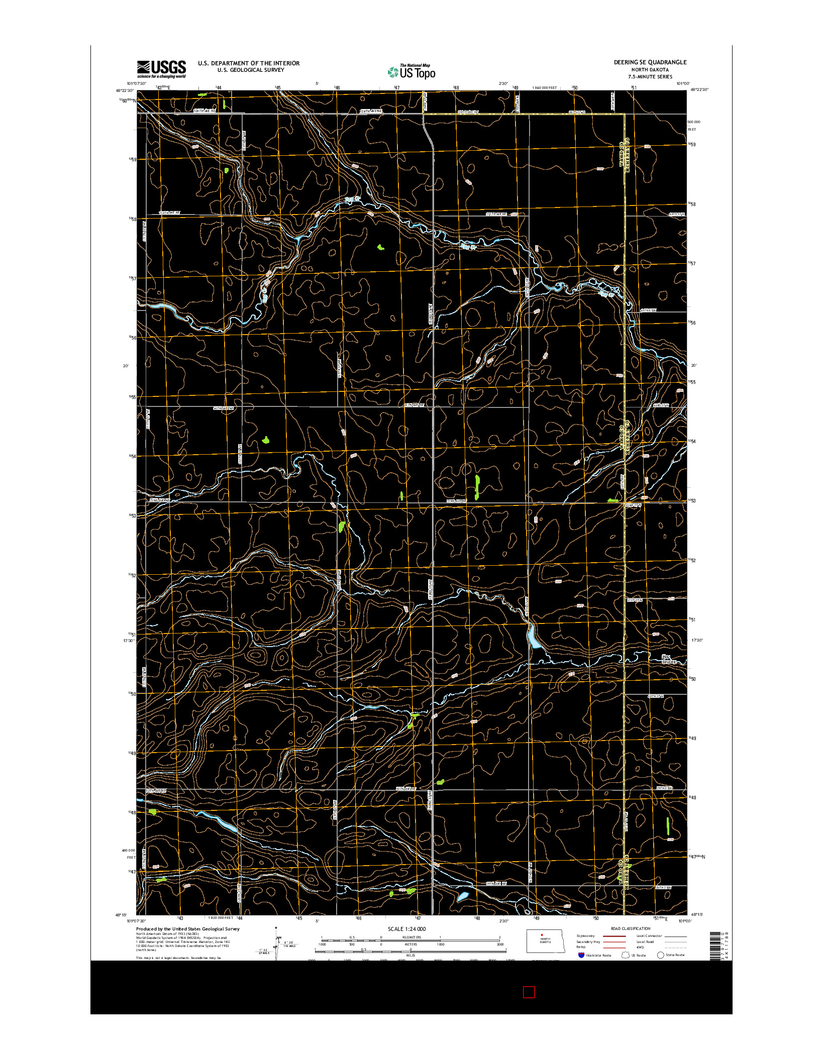 USGS US TOPO 7.5-MINUTE MAP FOR DEERING SE, ND 2014