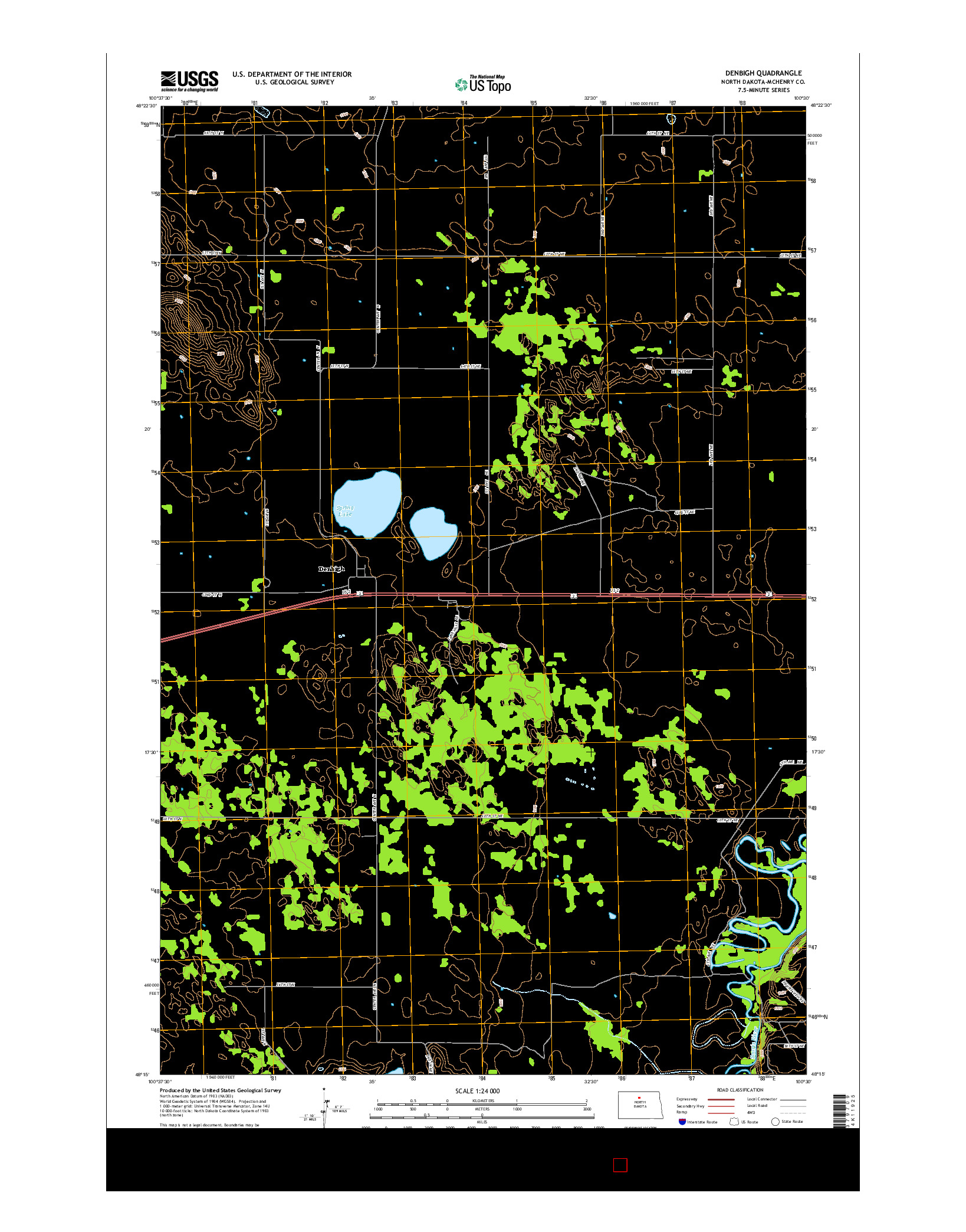 USGS US TOPO 7.5-MINUTE MAP FOR DENBIGH, ND 2014