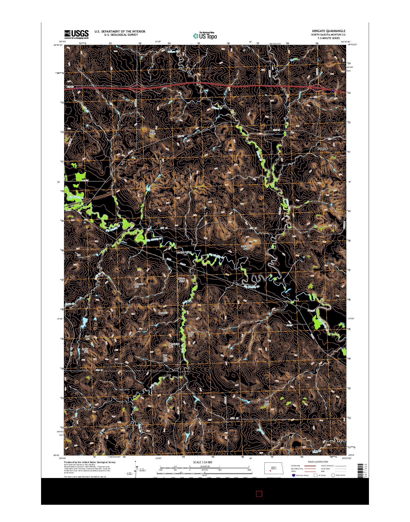 USGS US TOPO 7.5-MINUTE MAP FOR DENGATE, ND 2014
