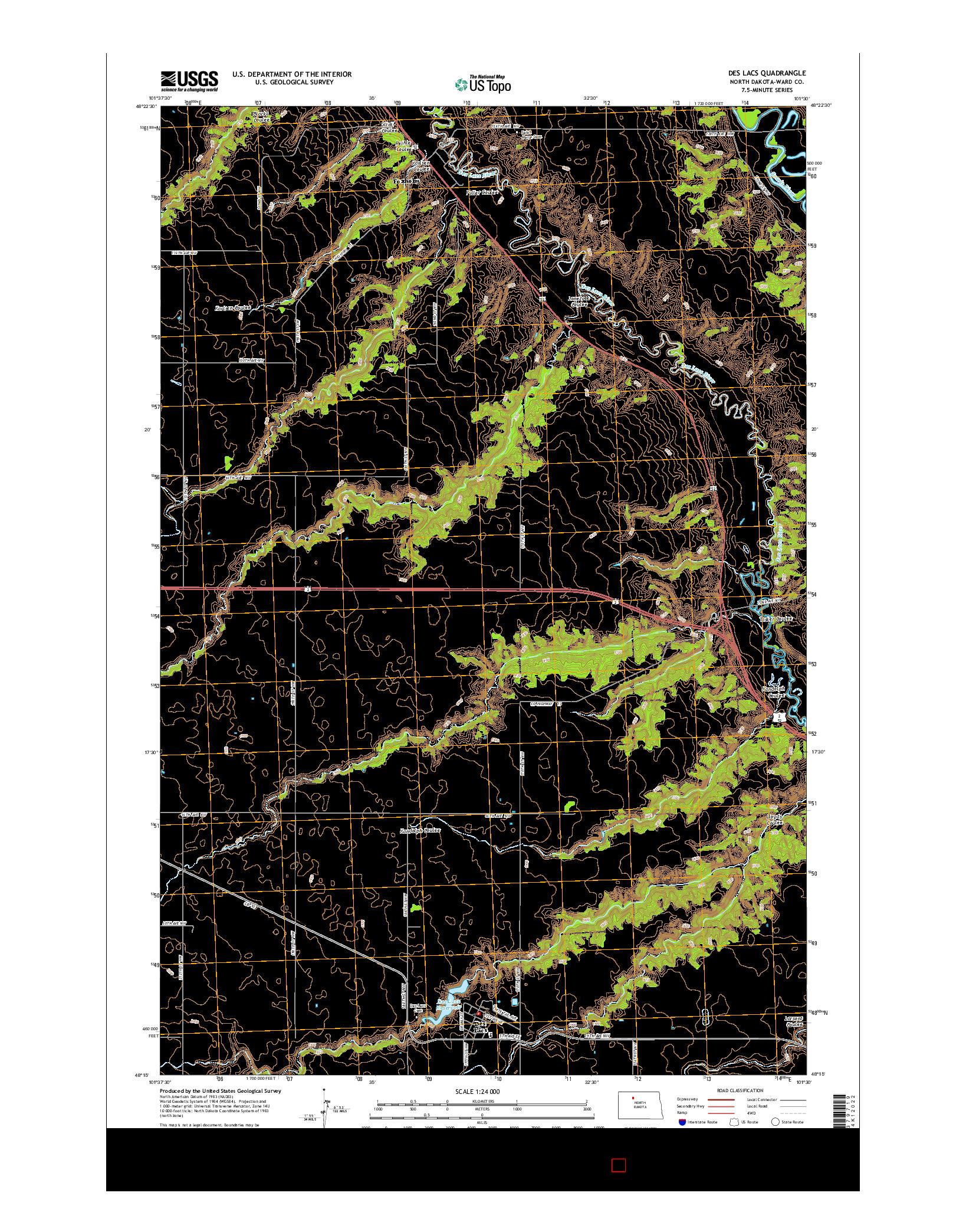 USGS US TOPO 7.5-MINUTE MAP FOR DES LACS, ND 2014