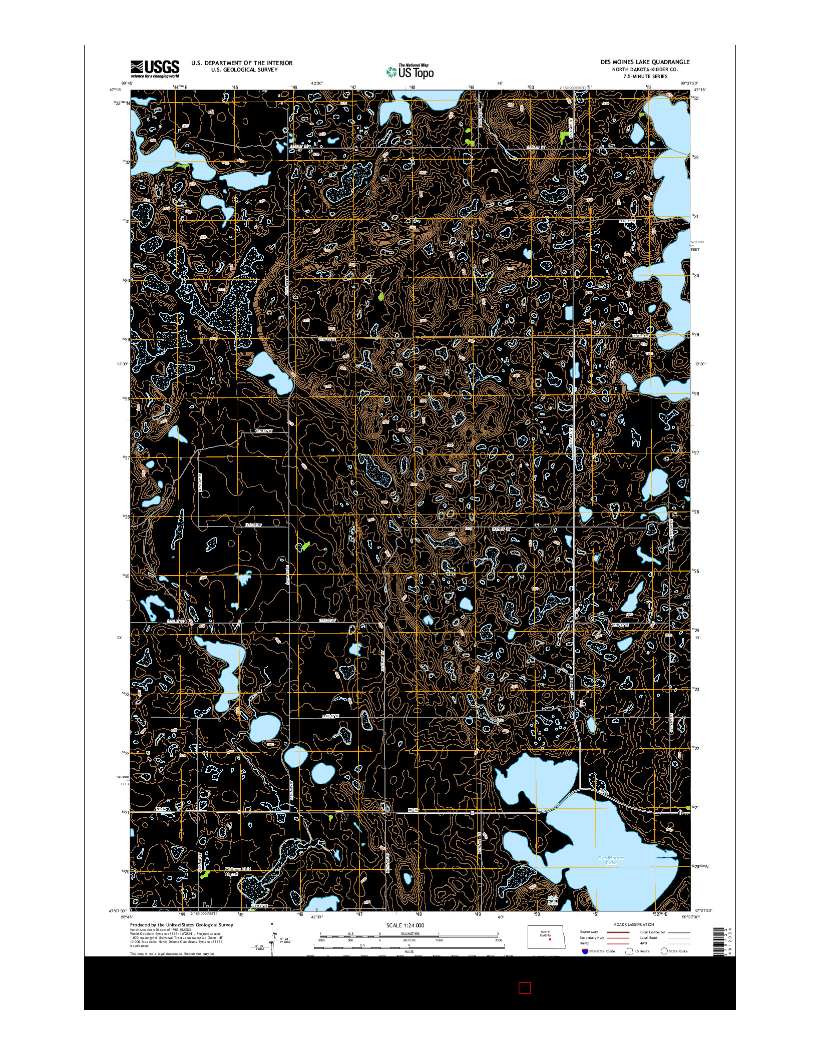 USGS US TOPO 7.5-MINUTE MAP FOR DES MOINES LAKE, ND 2014