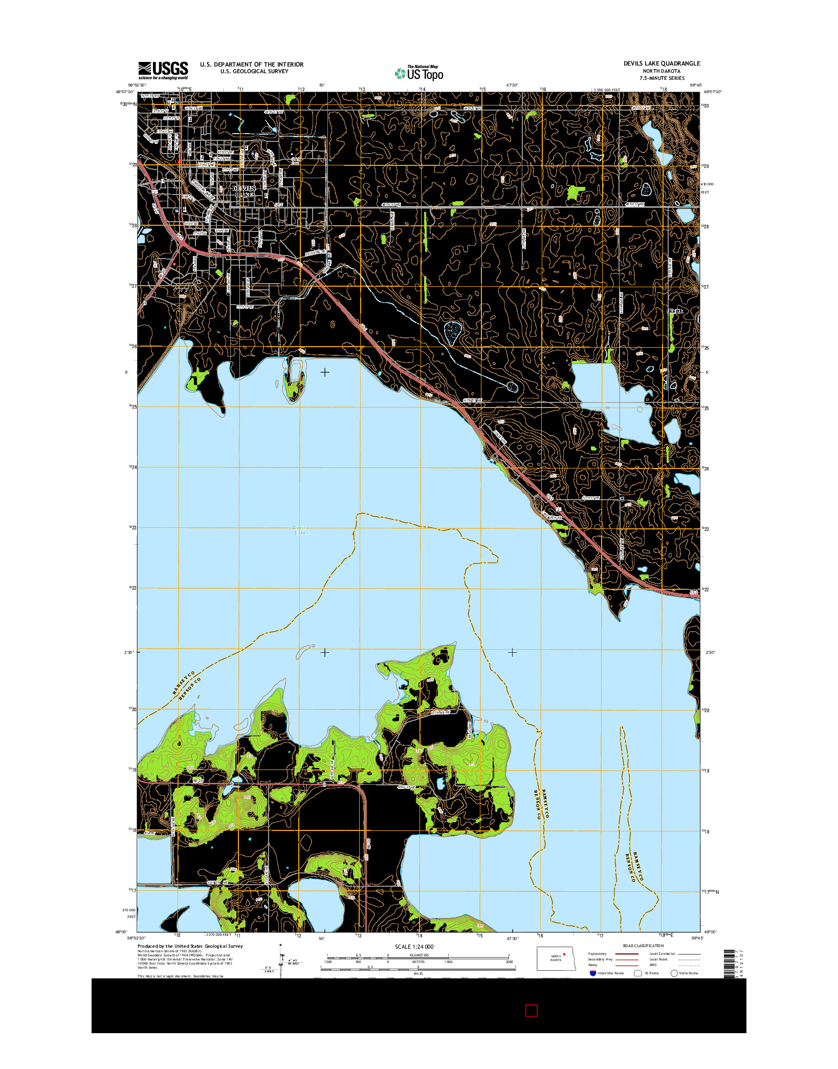 USGS US TOPO 7.5-MINUTE MAP FOR DEVILS LAKE, ND 2014