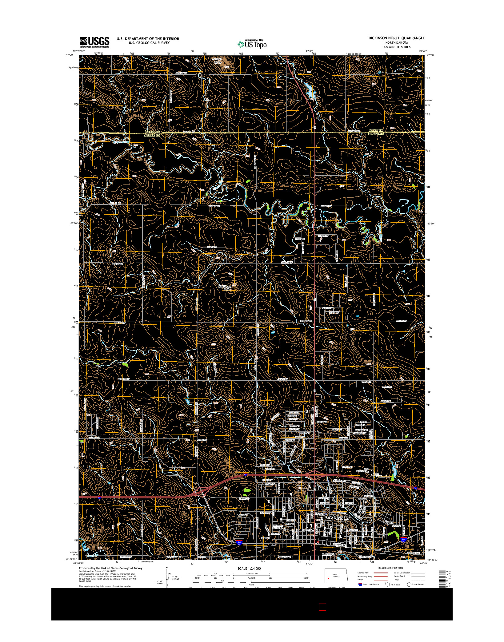 USGS US TOPO 7.5-MINUTE MAP FOR DICKINSON NORTH, ND 2014