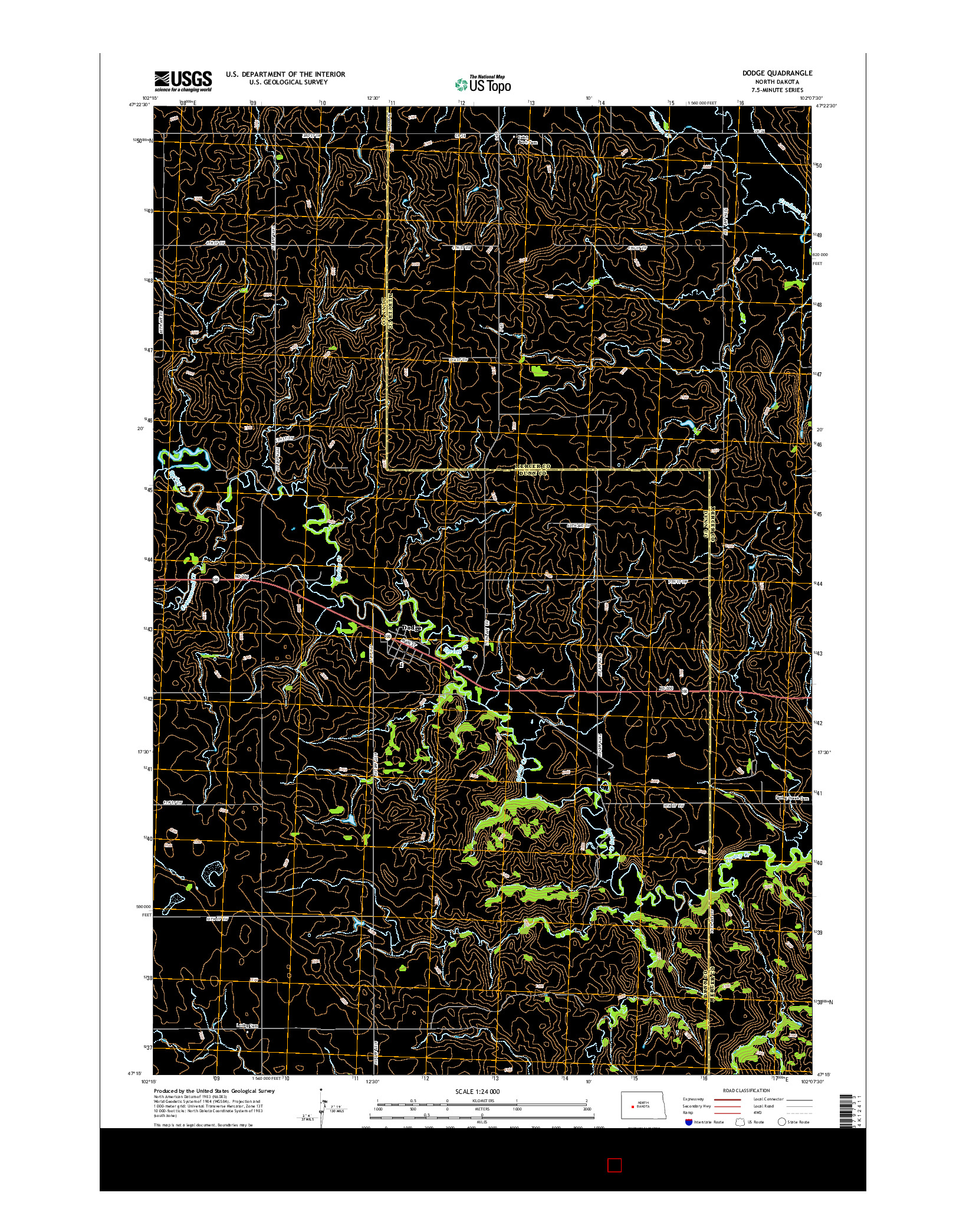 USGS US TOPO 7.5-MINUTE MAP FOR DODGE, ND 2014