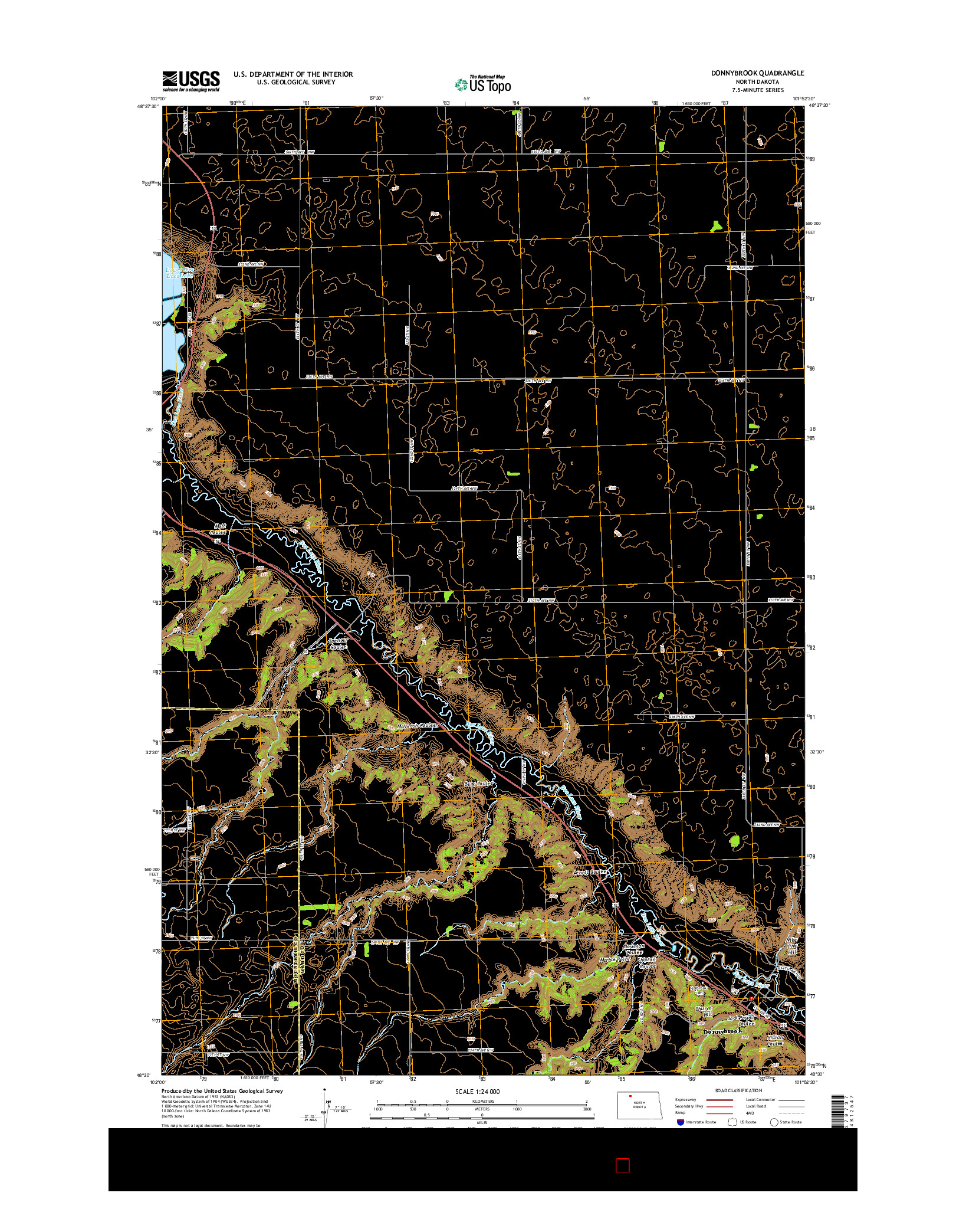 USGS US TOPO 7.5-MINUTE MAP FOR DONNYBROOK, ND 2014