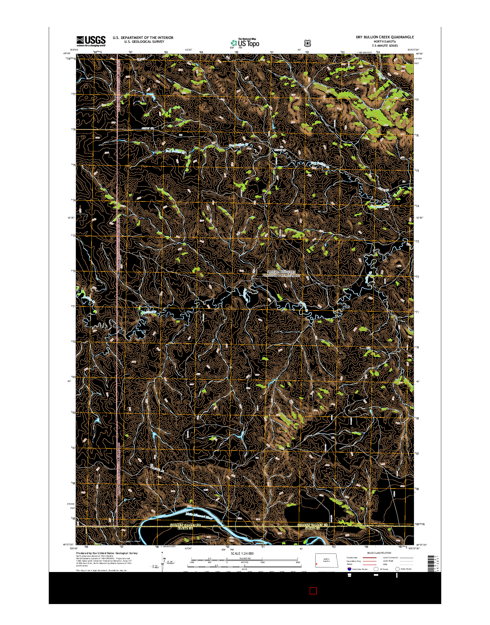 USGS US TOPO 7.5-MINUTE MAP FOR DRY BULLION CREEK, ND 2014