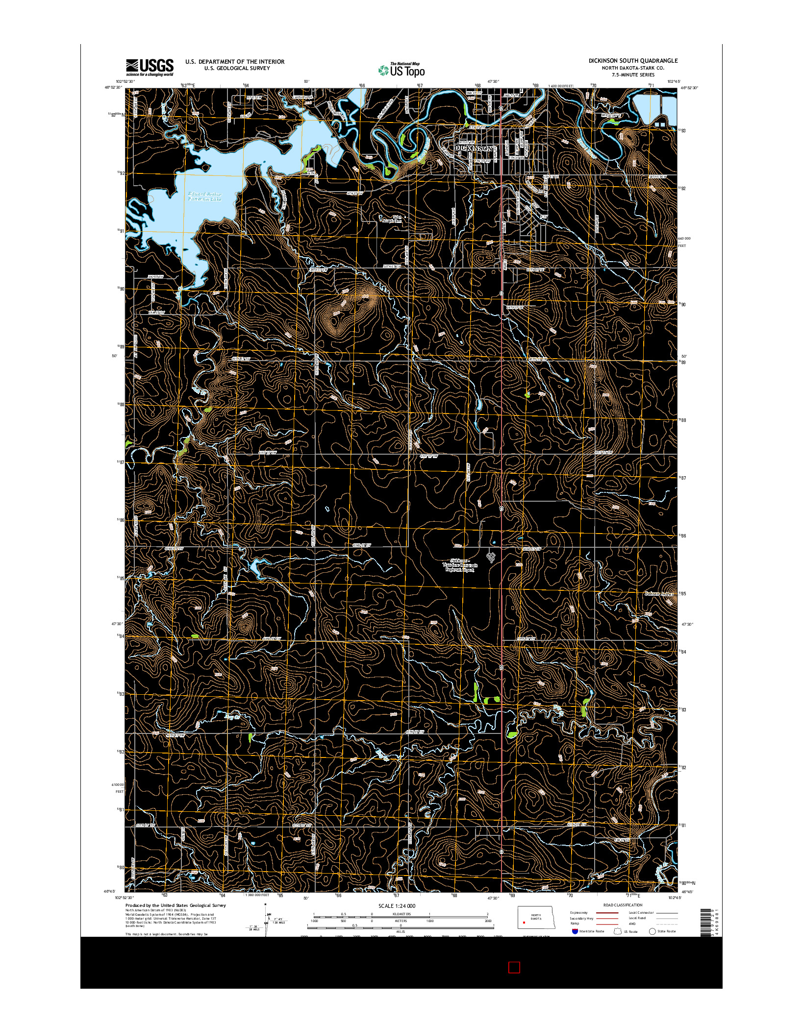 USGS US TOPO 7.5-MINUTE MAP FOR DICKINSON SOUTH, ND 2014
