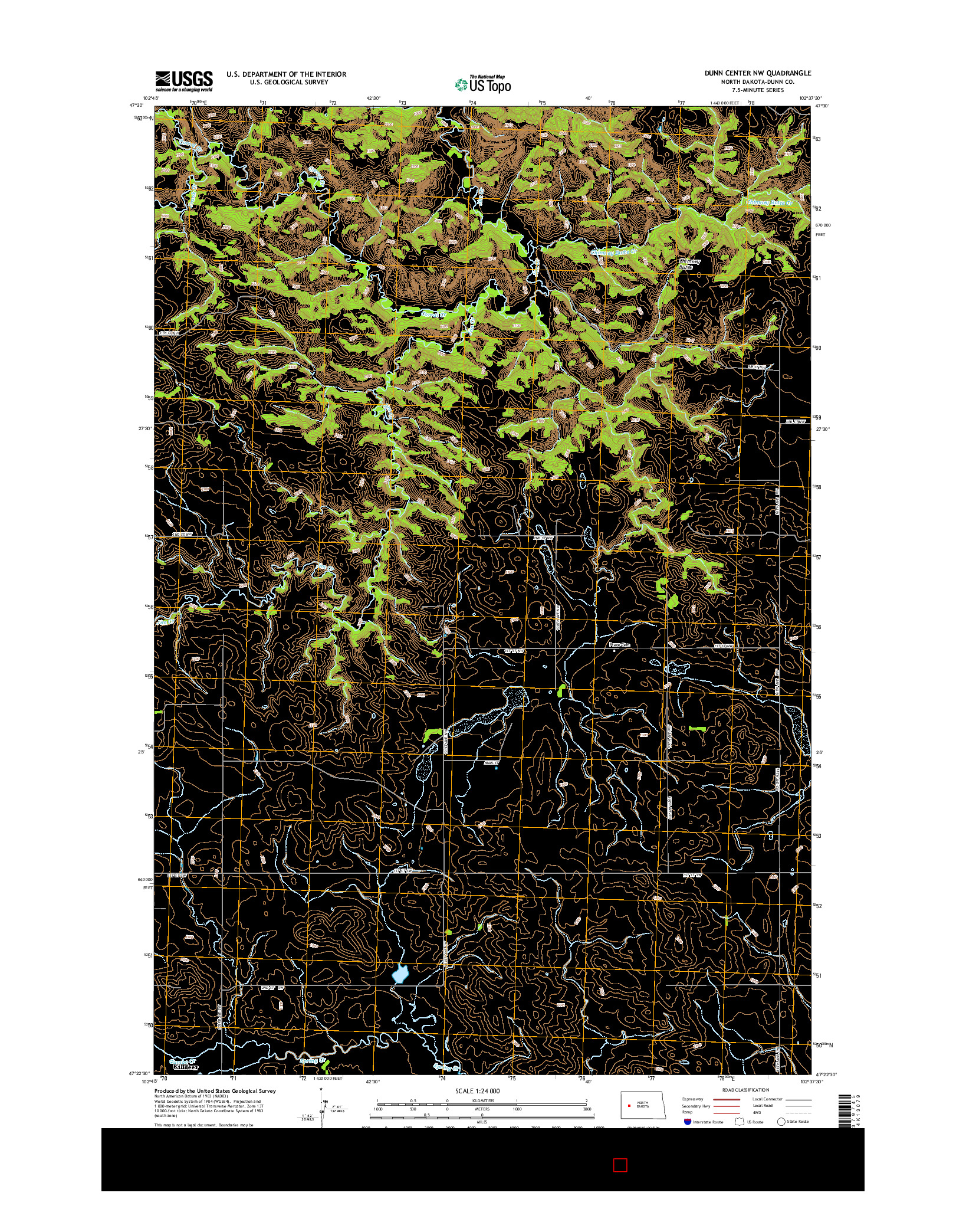 USGS US TOPO 7.5-MINUTE MAP FOR DUNN CENTER NW, ND 2014