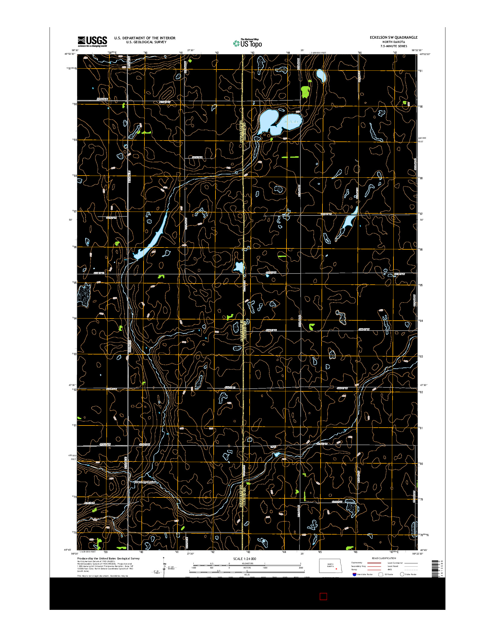 USGS US TOPO 7.5-MINUTE MAP FOR ECKELSON SW, ND 2014