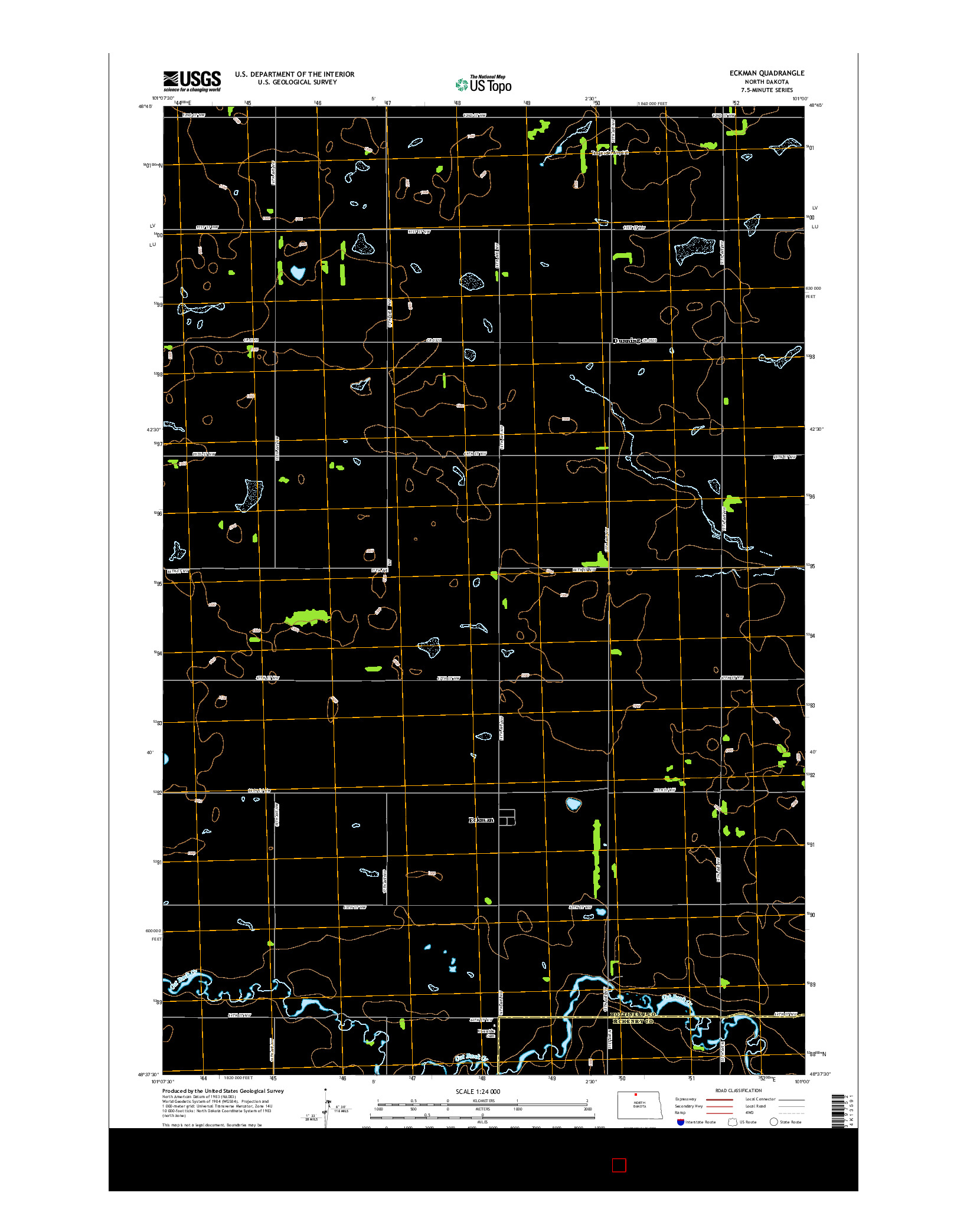 USGS US TOPO 7.5-MINUTE MAP FOR ECKMAN, ND 2014