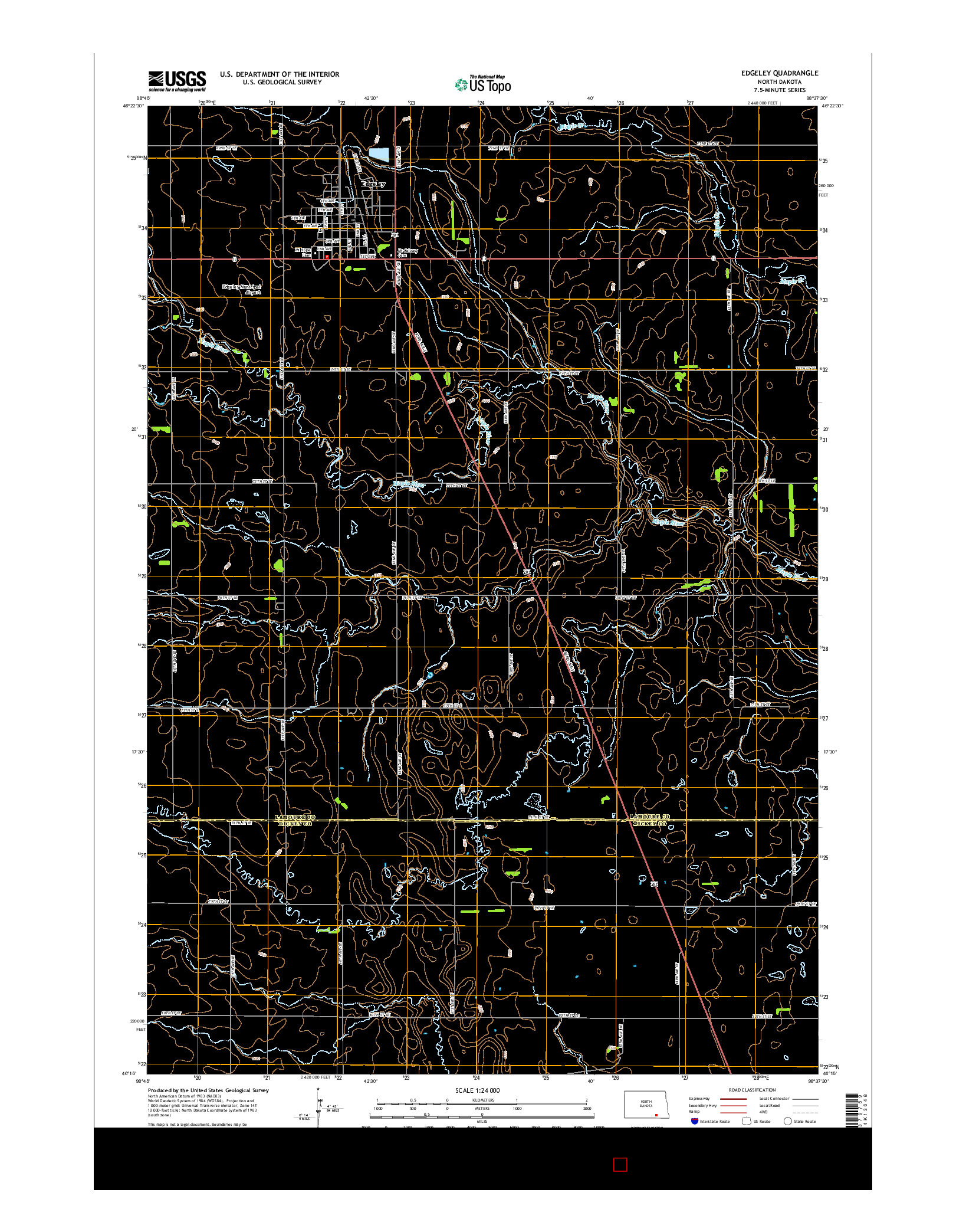 USGS US TOPO 7.5-MINUTE MAP FOR EDGELEY, ND 2014