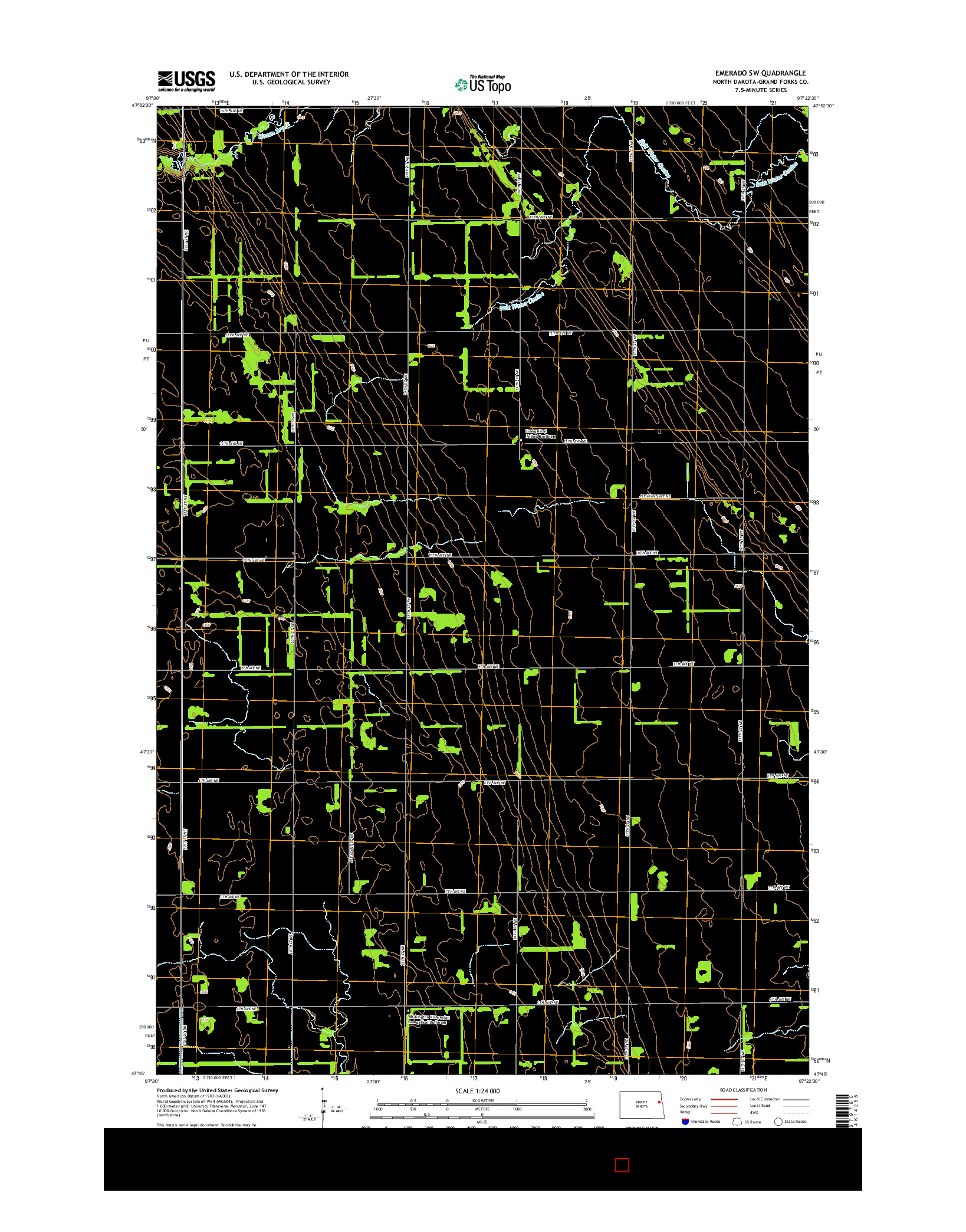 USGS US TOPO 7.5-MINUTE MAP FOR EMERADO SW, ND 2014