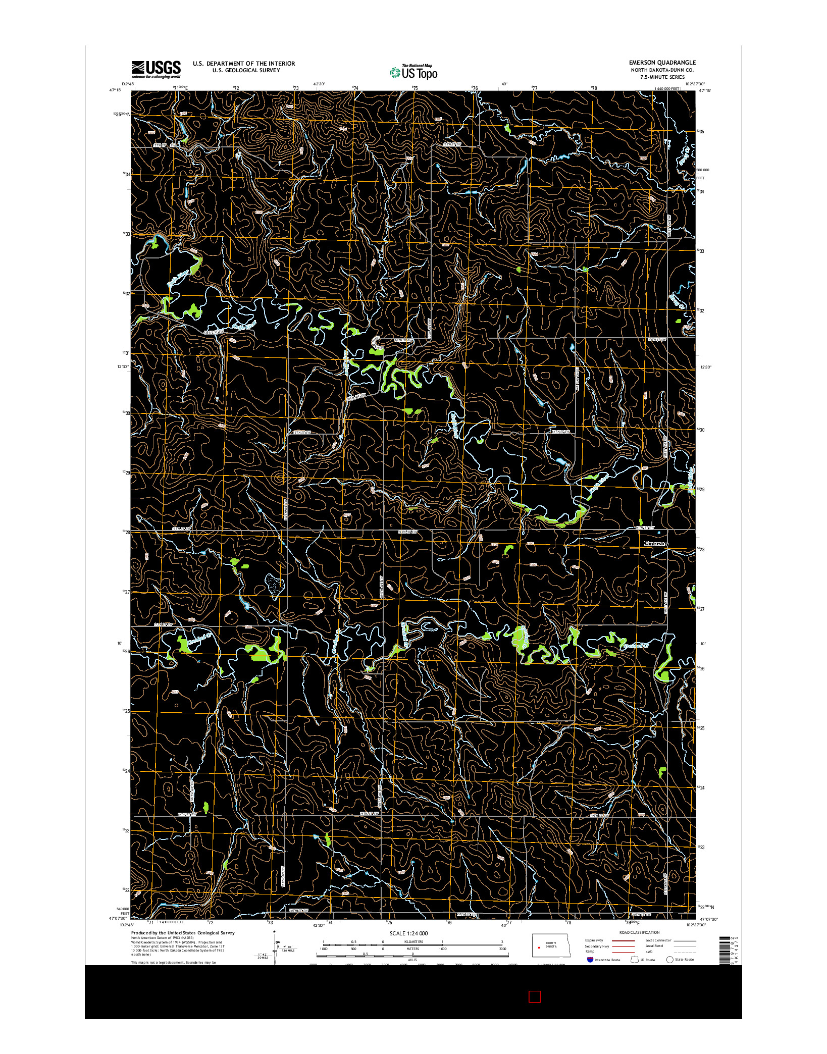 USGS US TOPO 7.5-MINUTE MAP FOR EMERSON, ND 2014