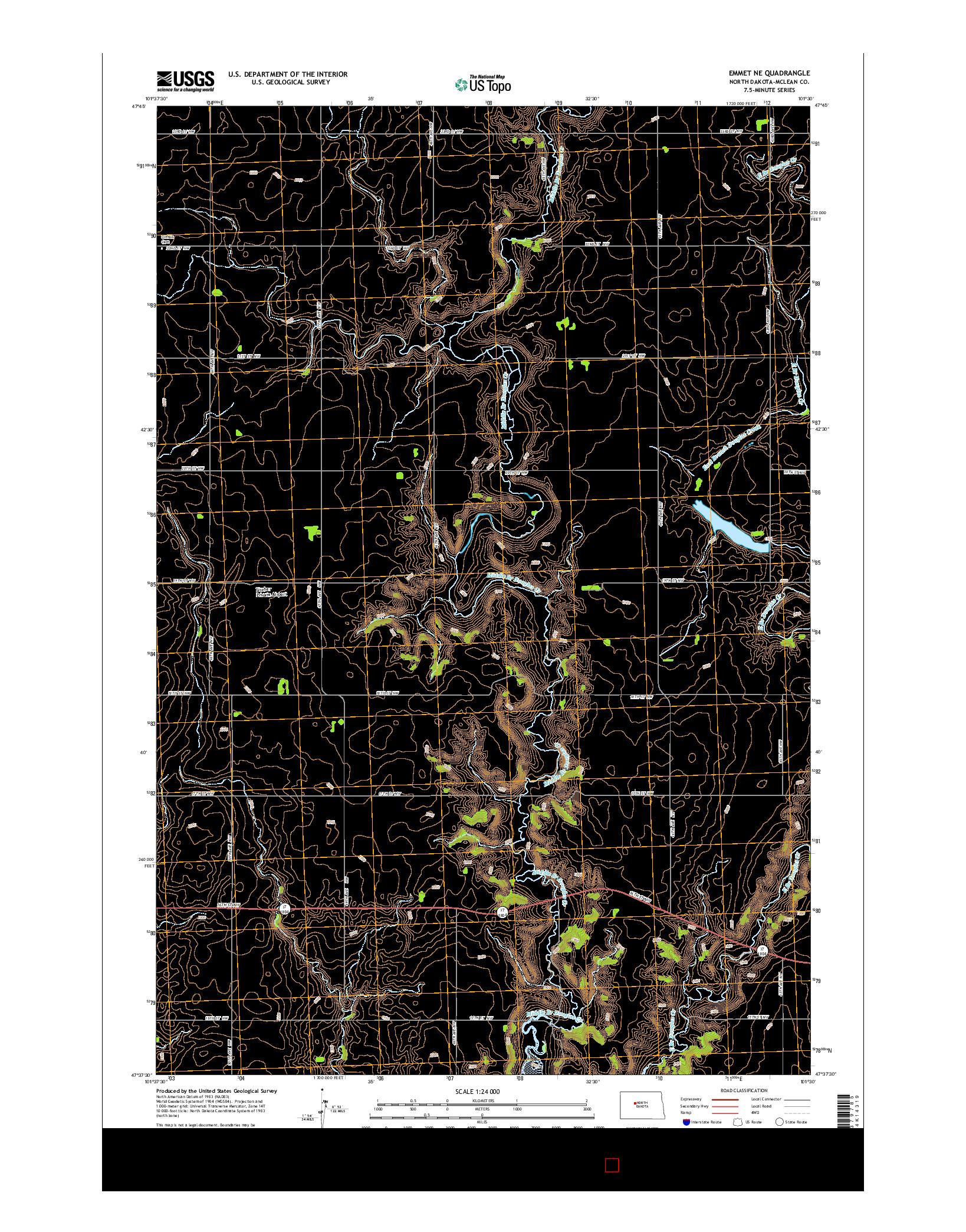 USGS US TOPO 7.5-MINUTE MAP FOR EMMET NE, ND 2014
