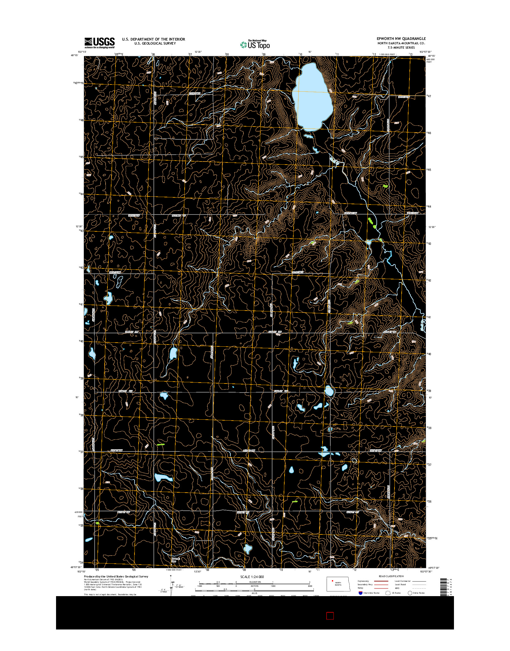 USGS US TOPO 7.5-MINUTE MAP FOR EPWORTH NW, ND 2014