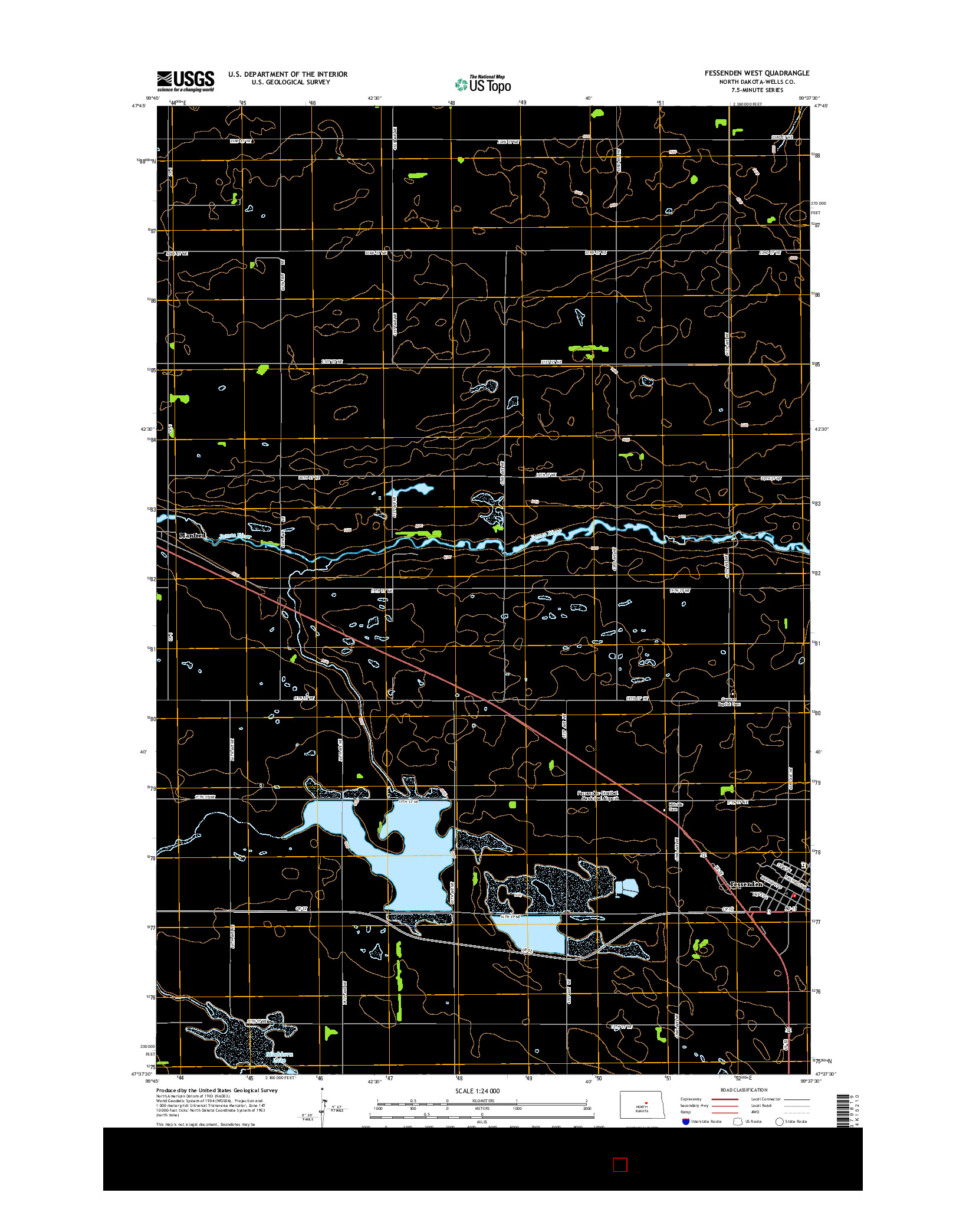 USGS US TOPO 7.5-MINUTE MAP FOR FESSENDEN WEST, ND 2014
