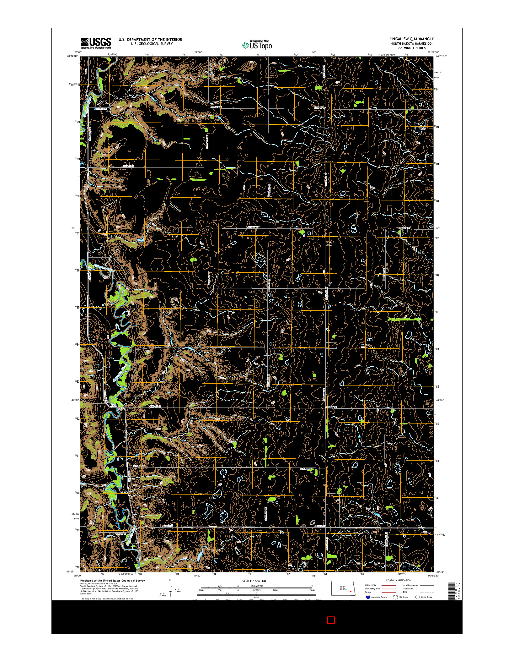 USGS US TOPO 7.5-MINUTE MAP FOR FINGAL SW, ND 2014