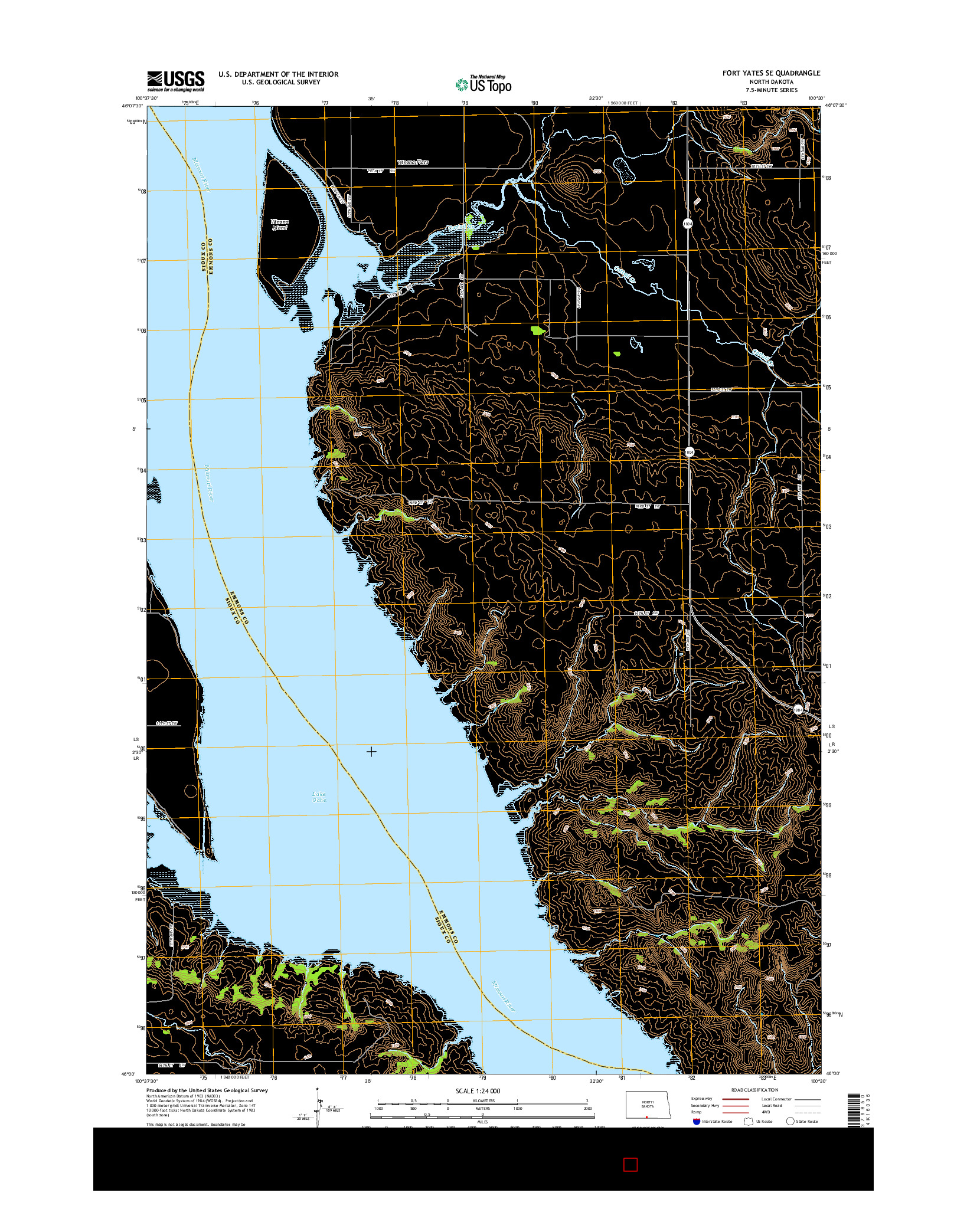 USGS US TOPO 7.5-MINUTE MAP FOR FORT YATES SE, ND 2014