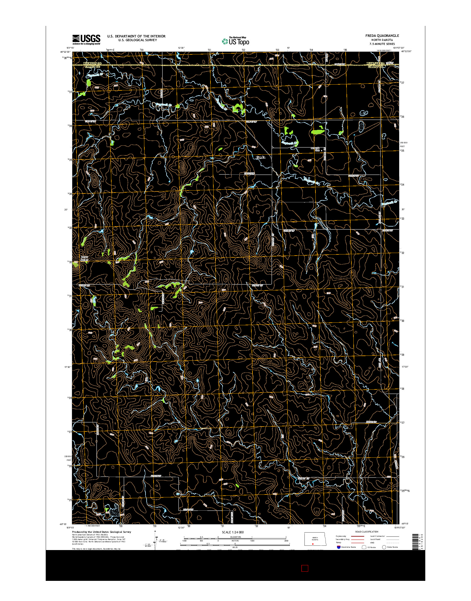 USGS US TOPO 7.5-MINUTE MAP FOR FREDA, ND 2014