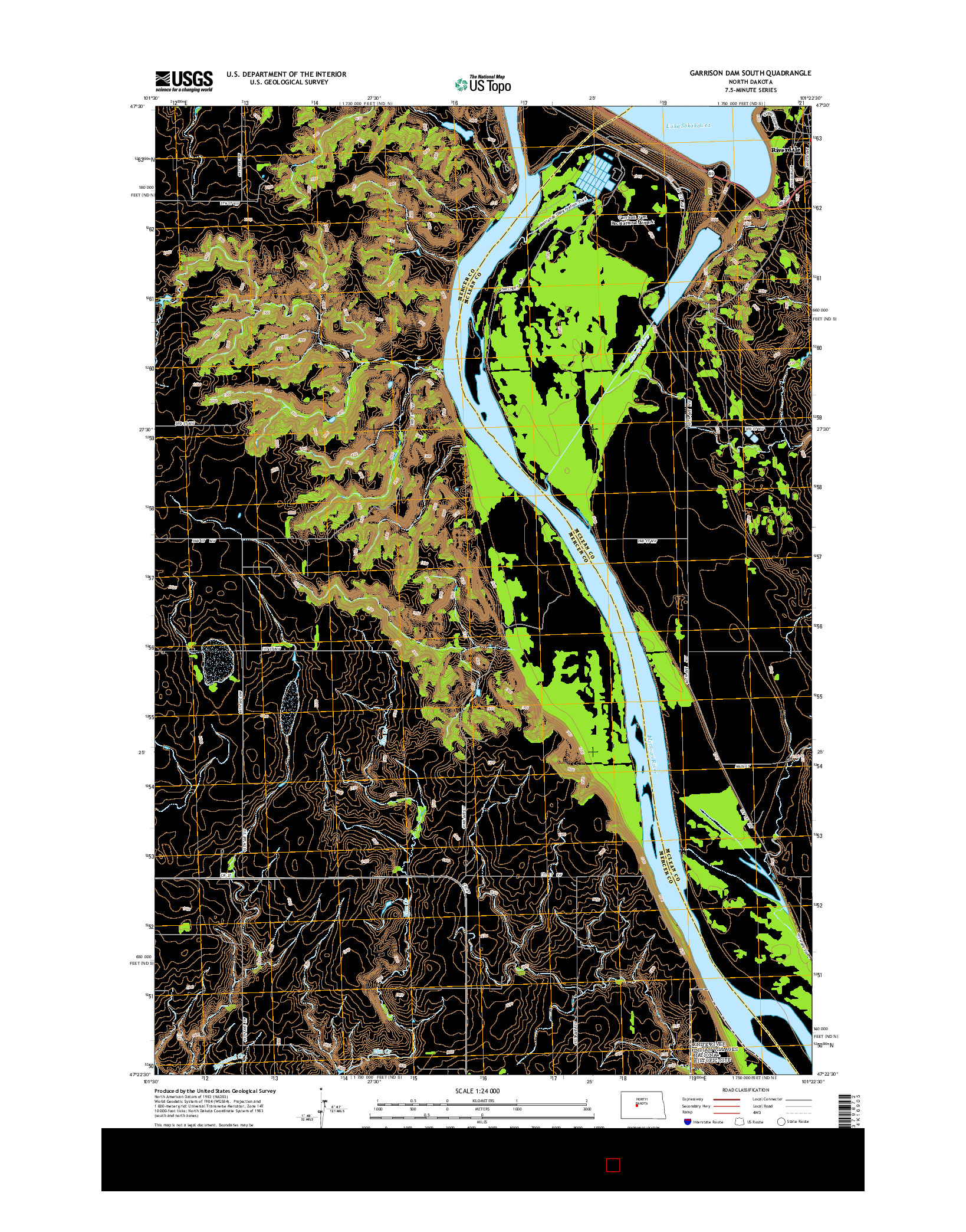 USGS US TOPO 7.5-MINUTE MAP FOR GARRISON DAM SOUTH, ND 2014