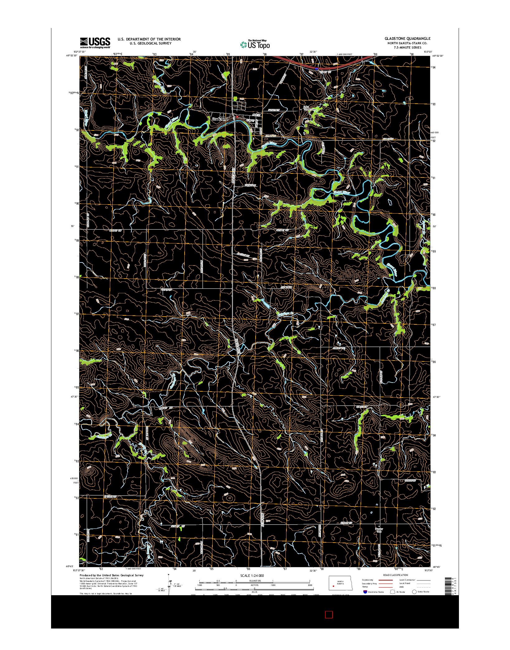 USGS US TOPO 7.5-MINUTE MAP FOR GLADSTONE, ND 2014
