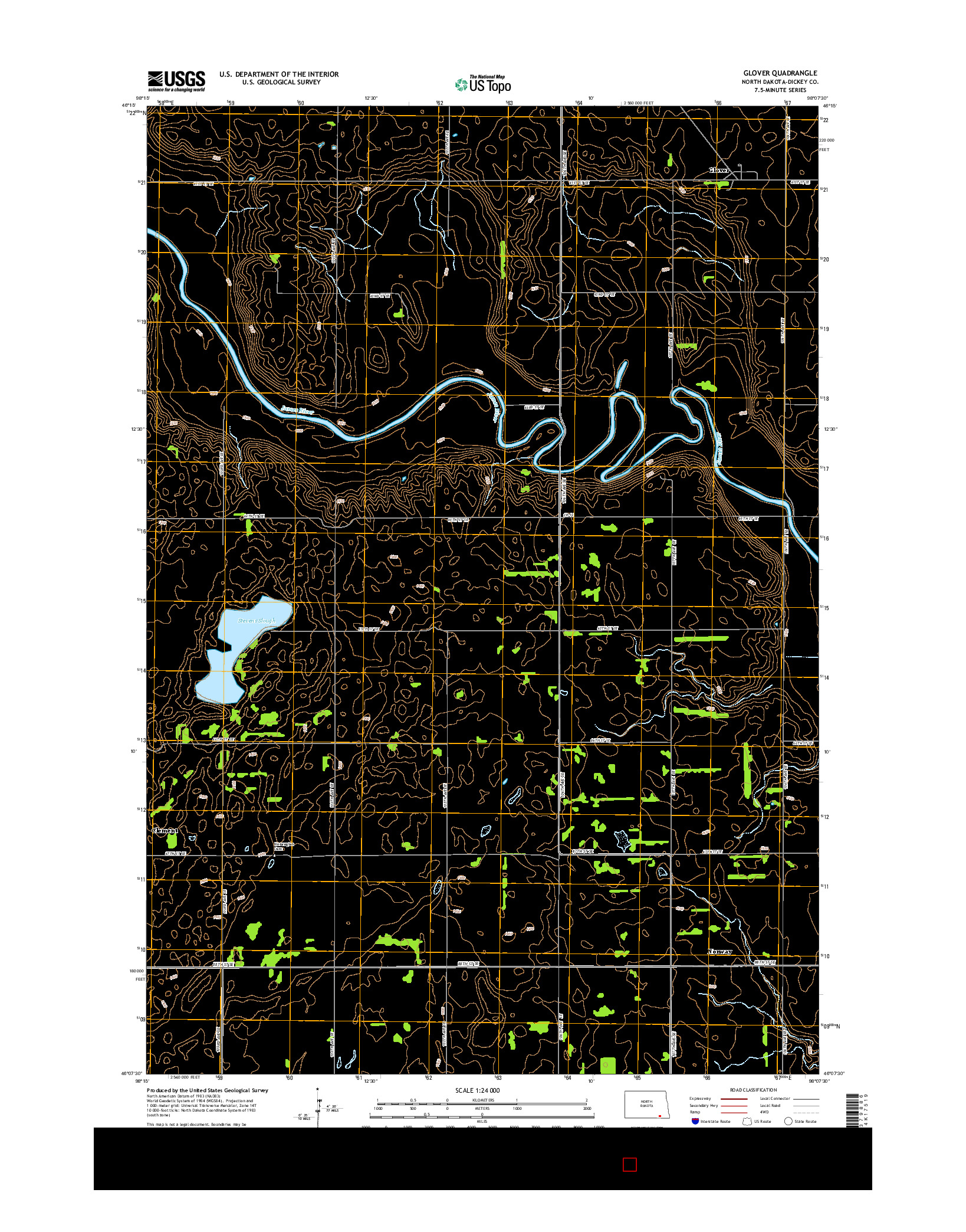 USGS US TOPO 7.5-MINUTE MAP FOR GLOVER, ND 2014