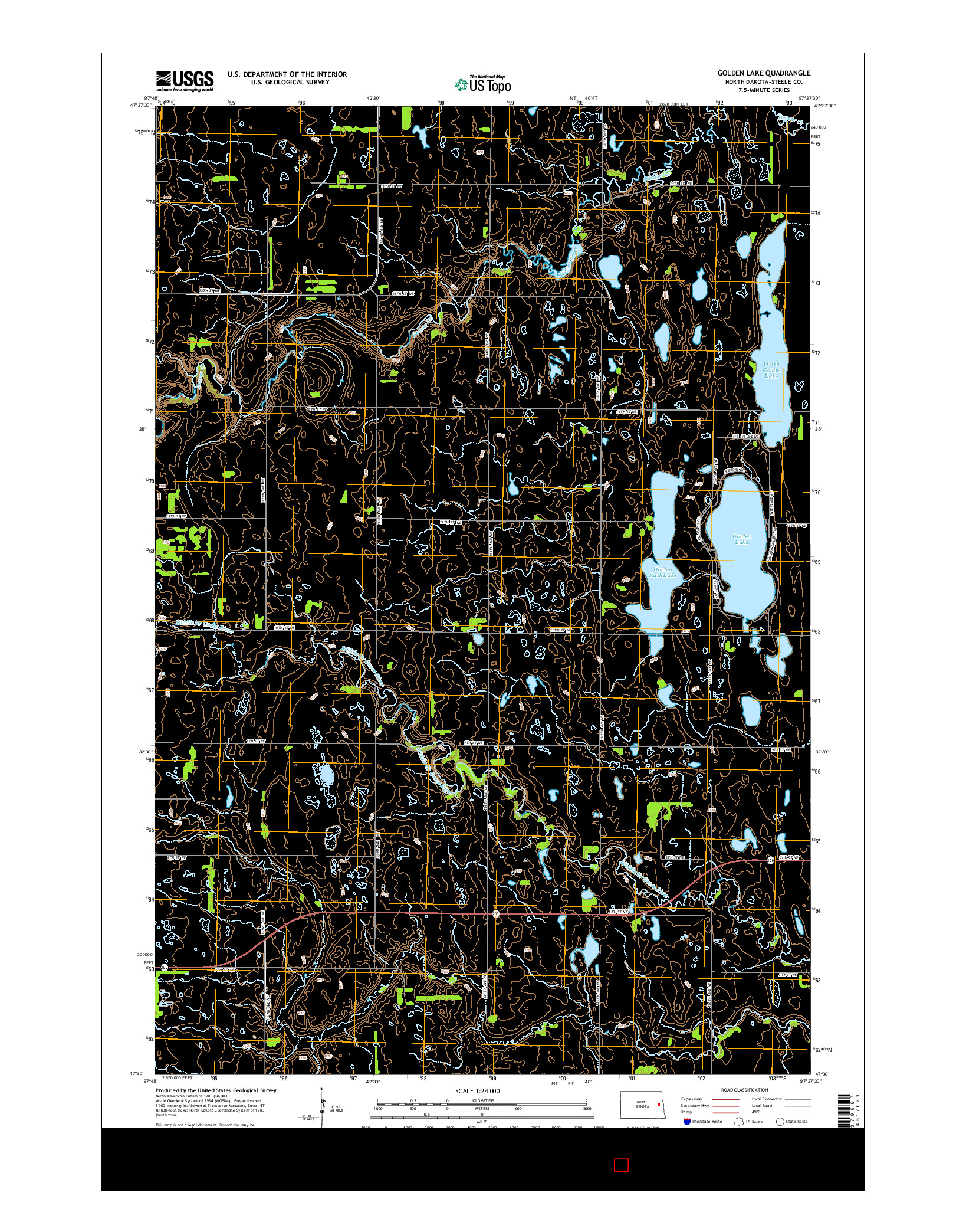 USGS US TOPO 7.5-MINUTE MAP FOR GOLDEN LAKE, ND 2014