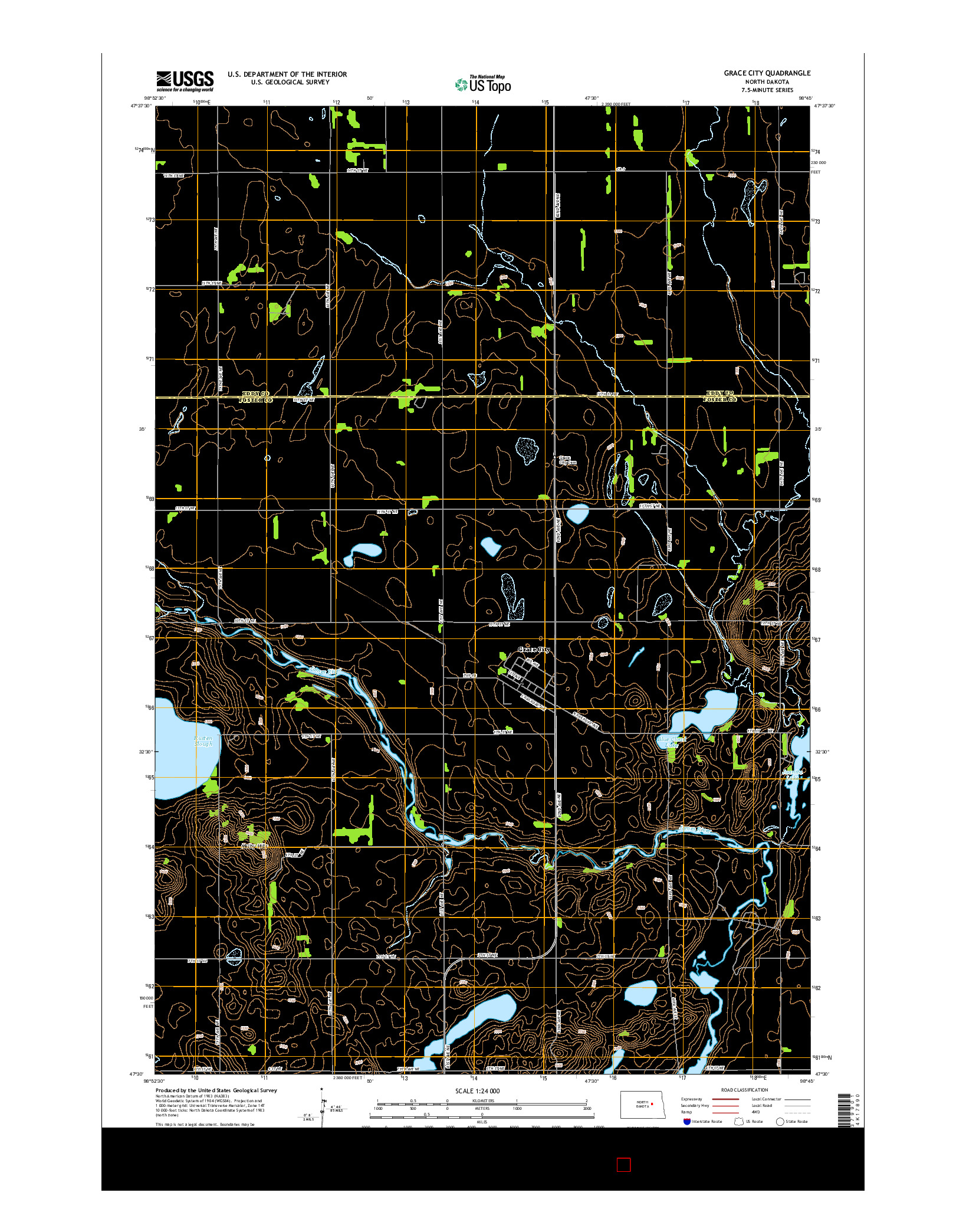 USGS US TOPO 7.5-MINUTE MAP FOR GRACE CITY, ND 2014
