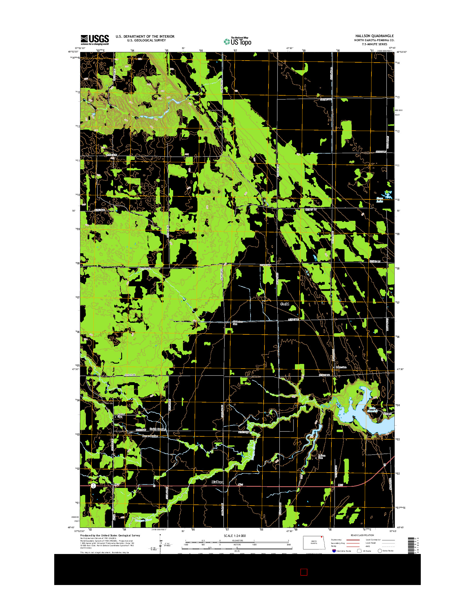 USGS US TOPO 7.5-MINUTE MAP FOR HALLSON, ND 2014